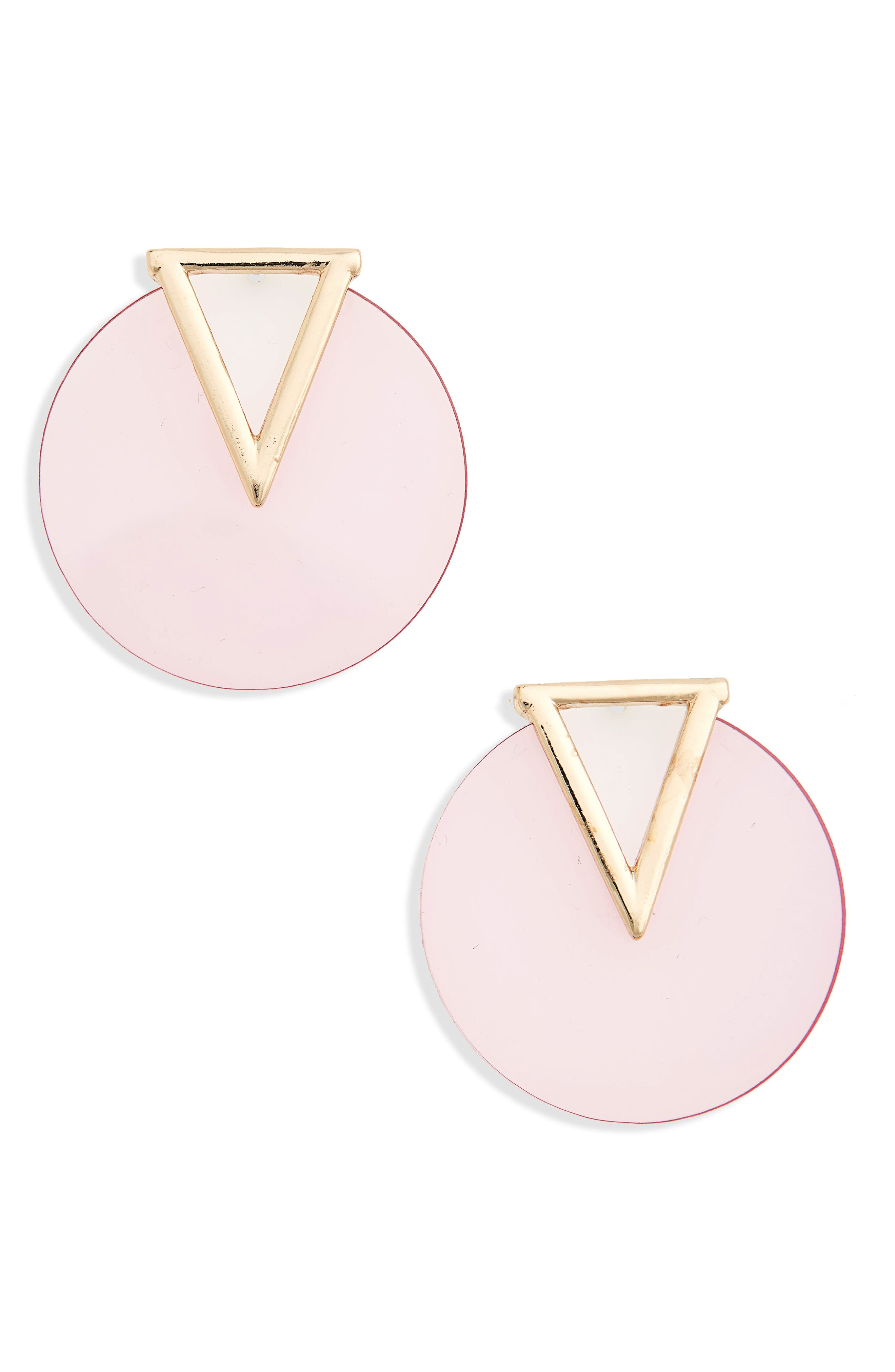Triangle & Circle Statement Earrings,                             Main thumbnail 1, color,                             Pink/ Gold