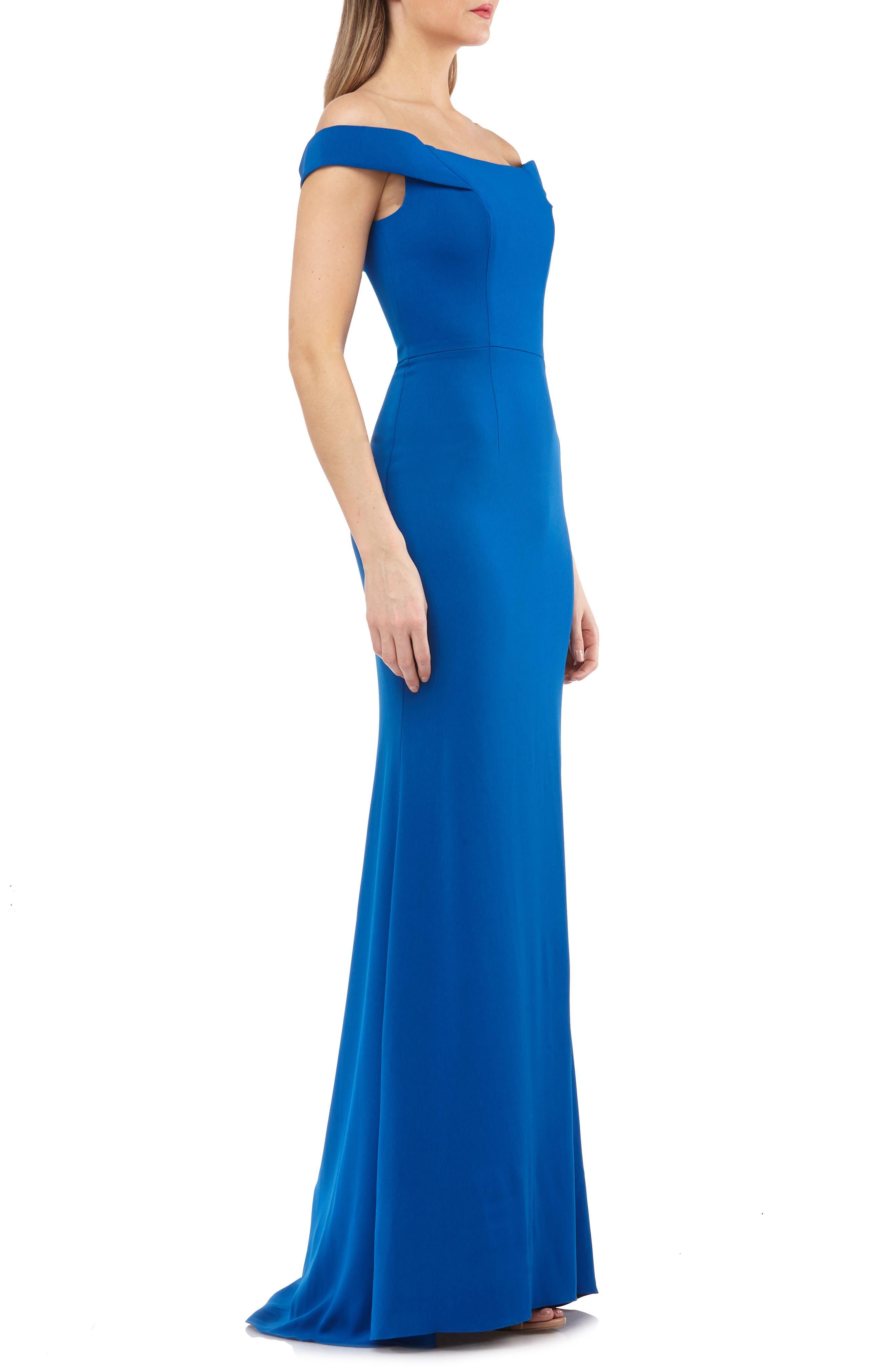 Carmen Marc Valvo Crepe Gown,                             Alternate thumbnail 3, color,                             Sapphire