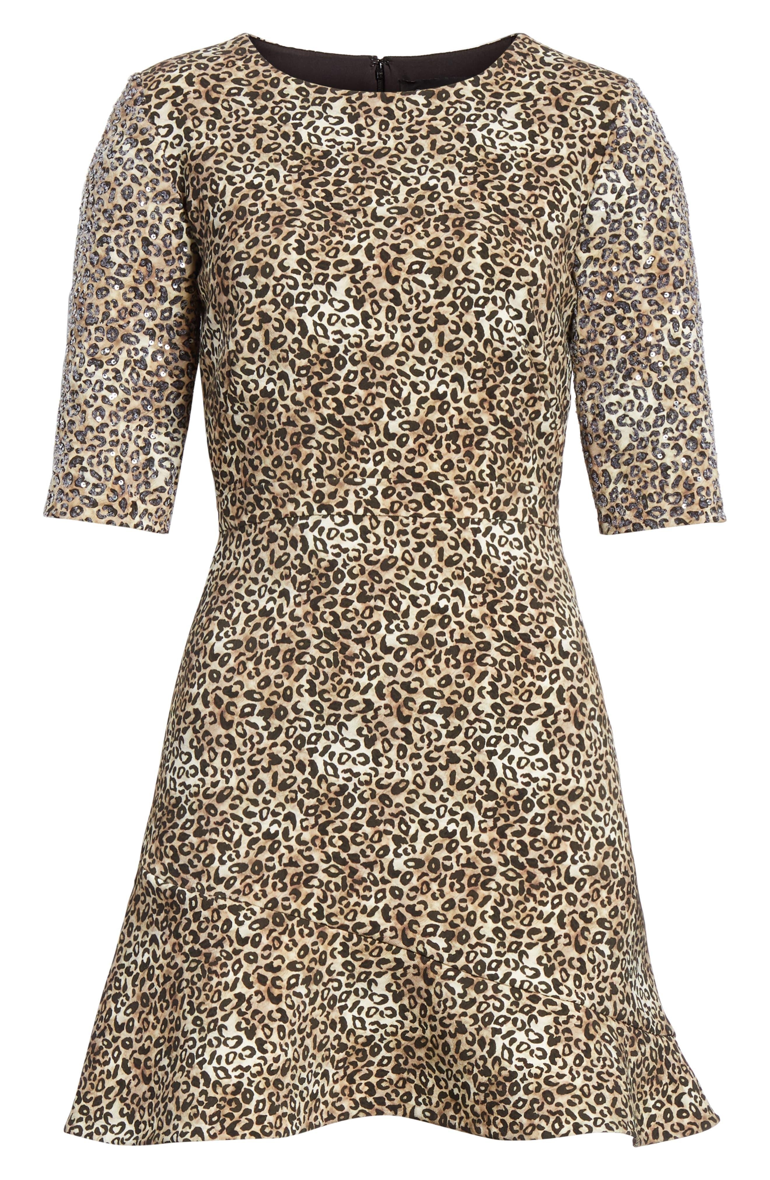 Celia Floral Print Dress,                             Alternate thumbnail 6, color,                             True Leopard