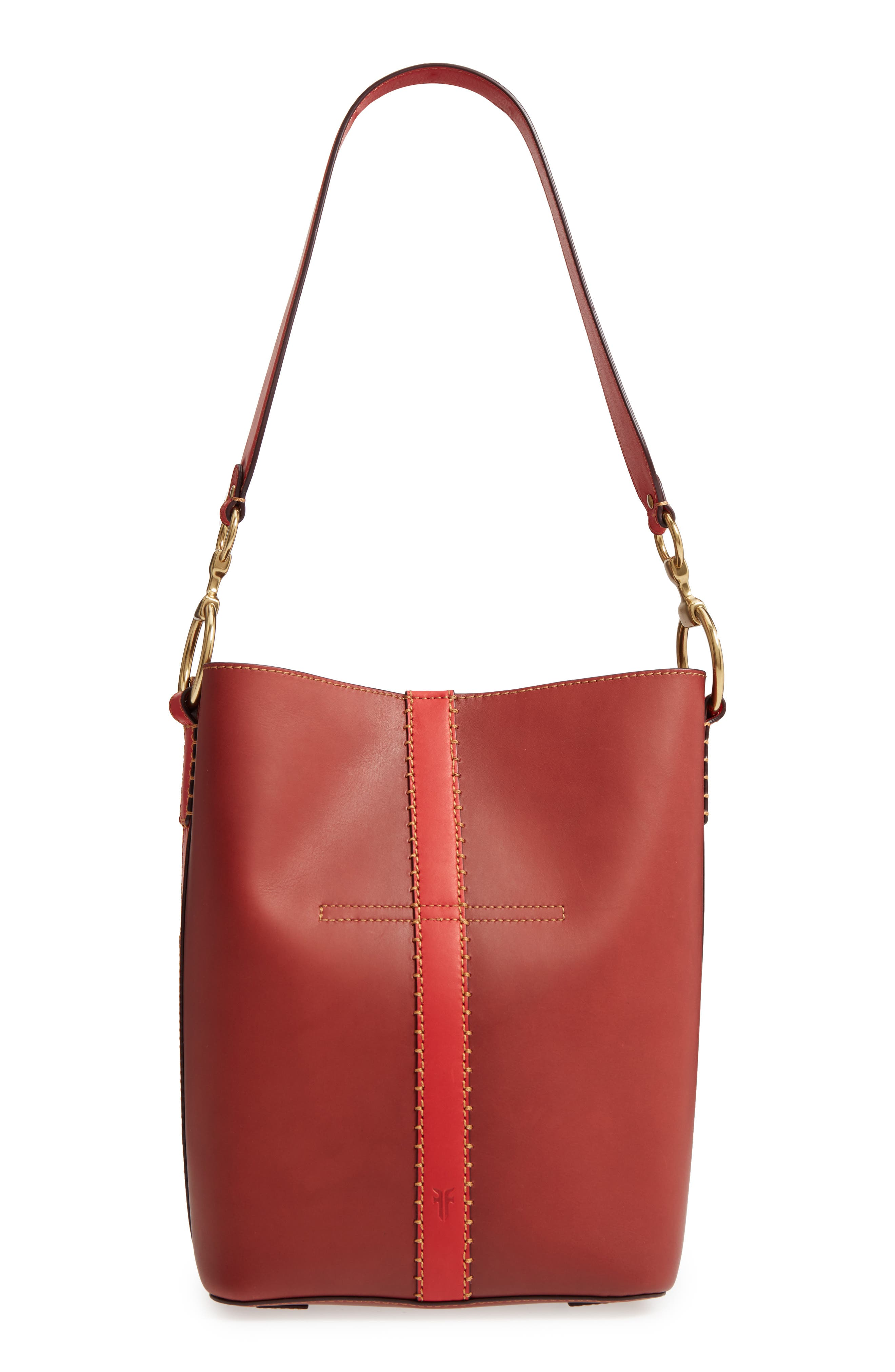 Ilana Colorblock Leather Bucket Hobo,                             Alternate thumbnail 3, color,                             Red Clay Multi