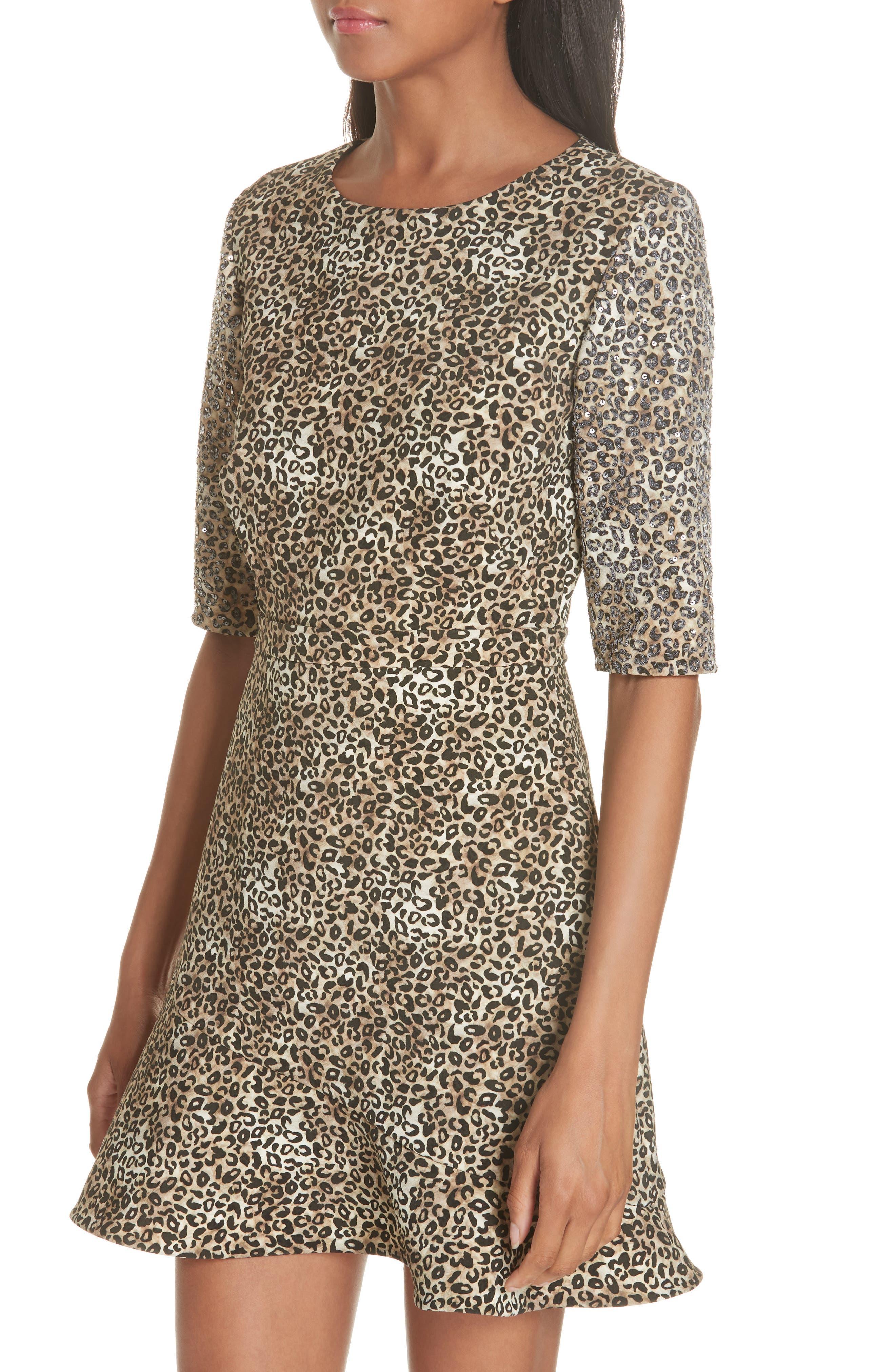 Celia Floral Print Dress,                             Alternate thumbnail 4, color,                             True Leopard