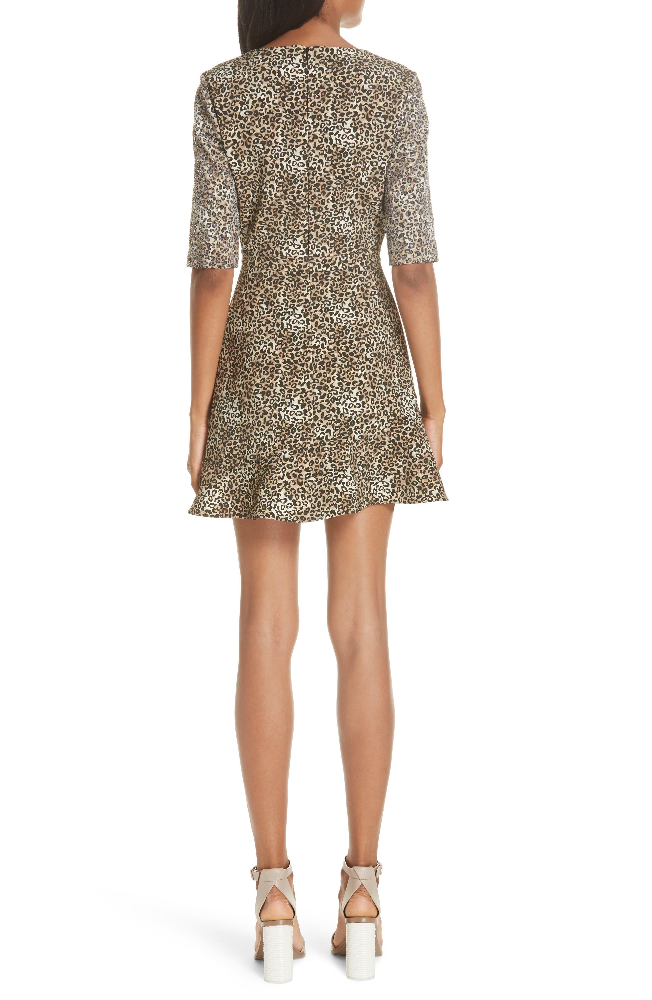 Celia Floral Print Dress,                             Alternate thumbnail 2, color,                             True Leopard