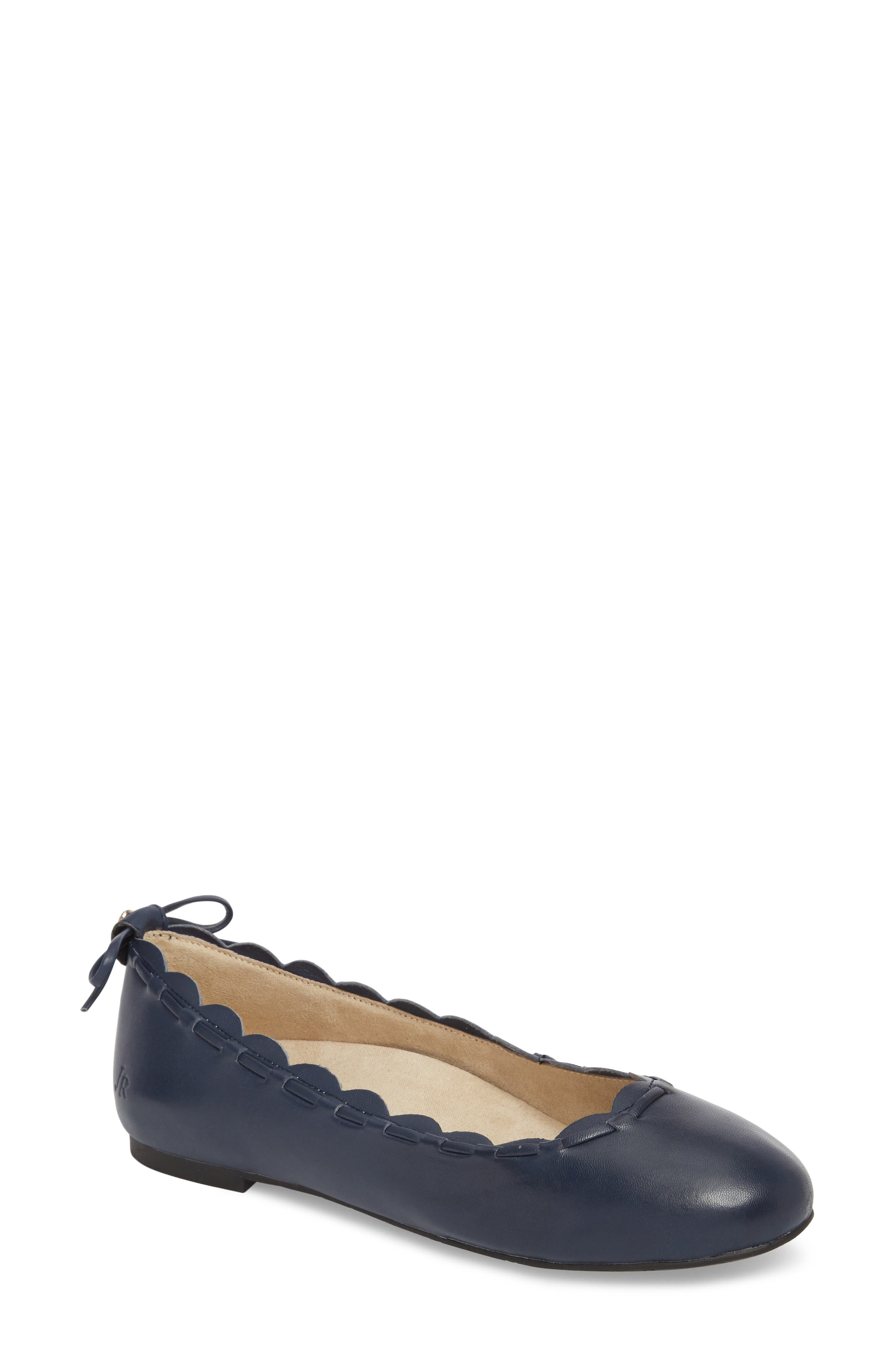 Lucie II Scalloped Flat,                         Main,                         color, Midnight Blue Leather