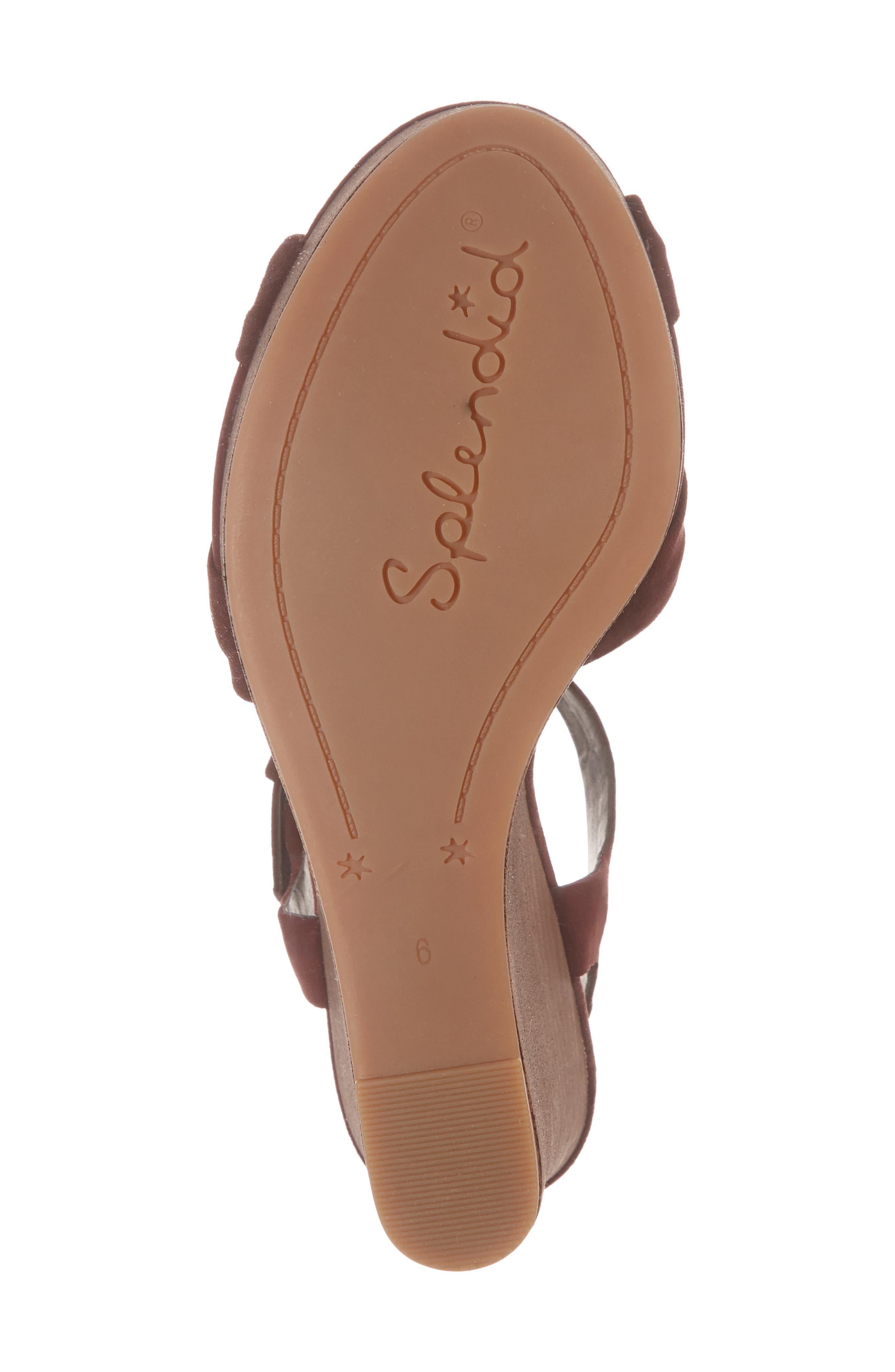 Nada Platform Wedge Sandal,                             Alternate thumbnail 5, color,                             Deep Plum Suede
