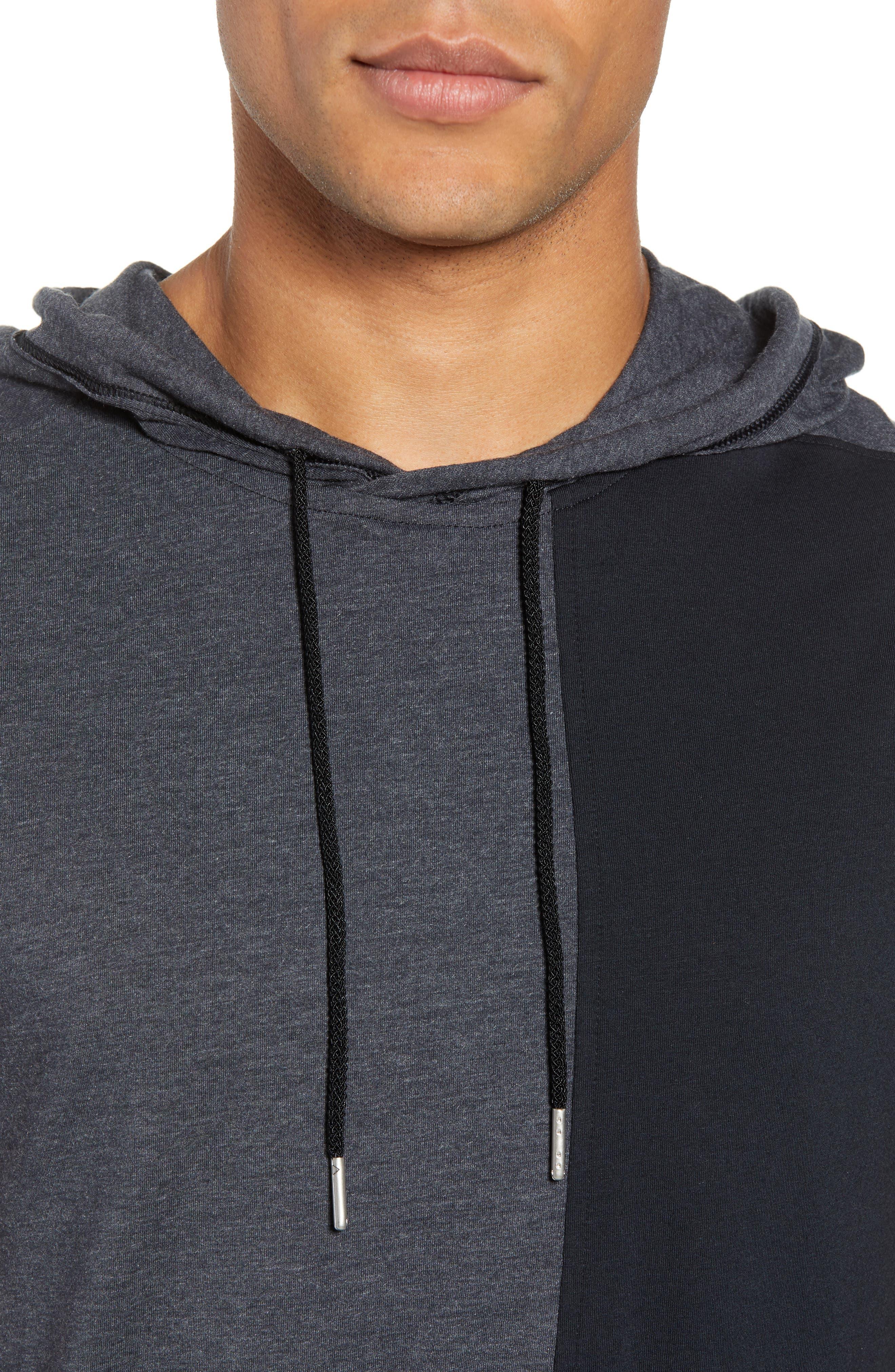 Pursuit Short Sleeve Hoodie,                             Alternate thumbnail 4, color,                             Black/ Black/ Stealth Gray