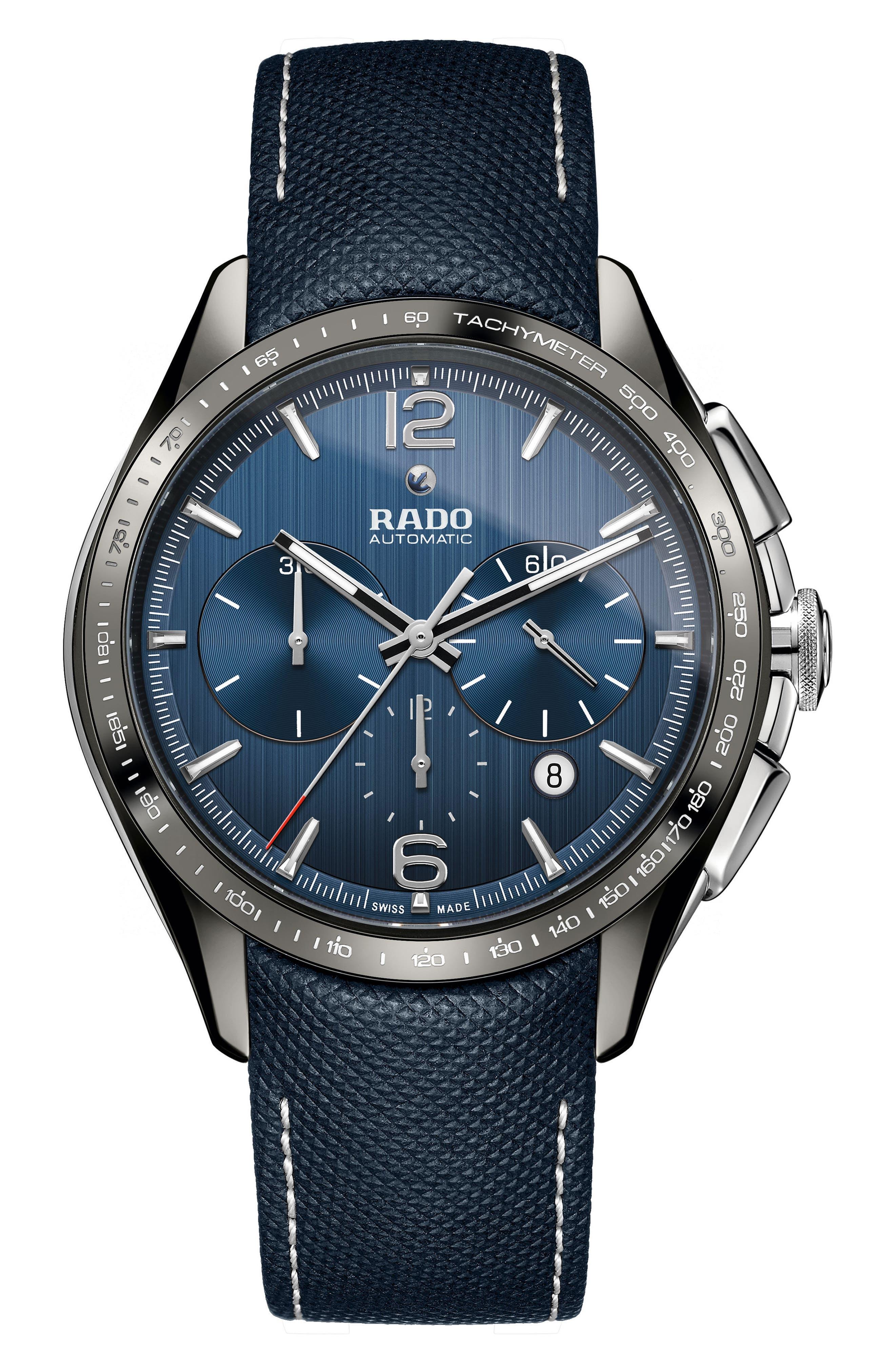 HyperChrome Automatic Chronograph Textile Strap Watch, 45mm,                         Main,                         color, Blue/ Gunmetal