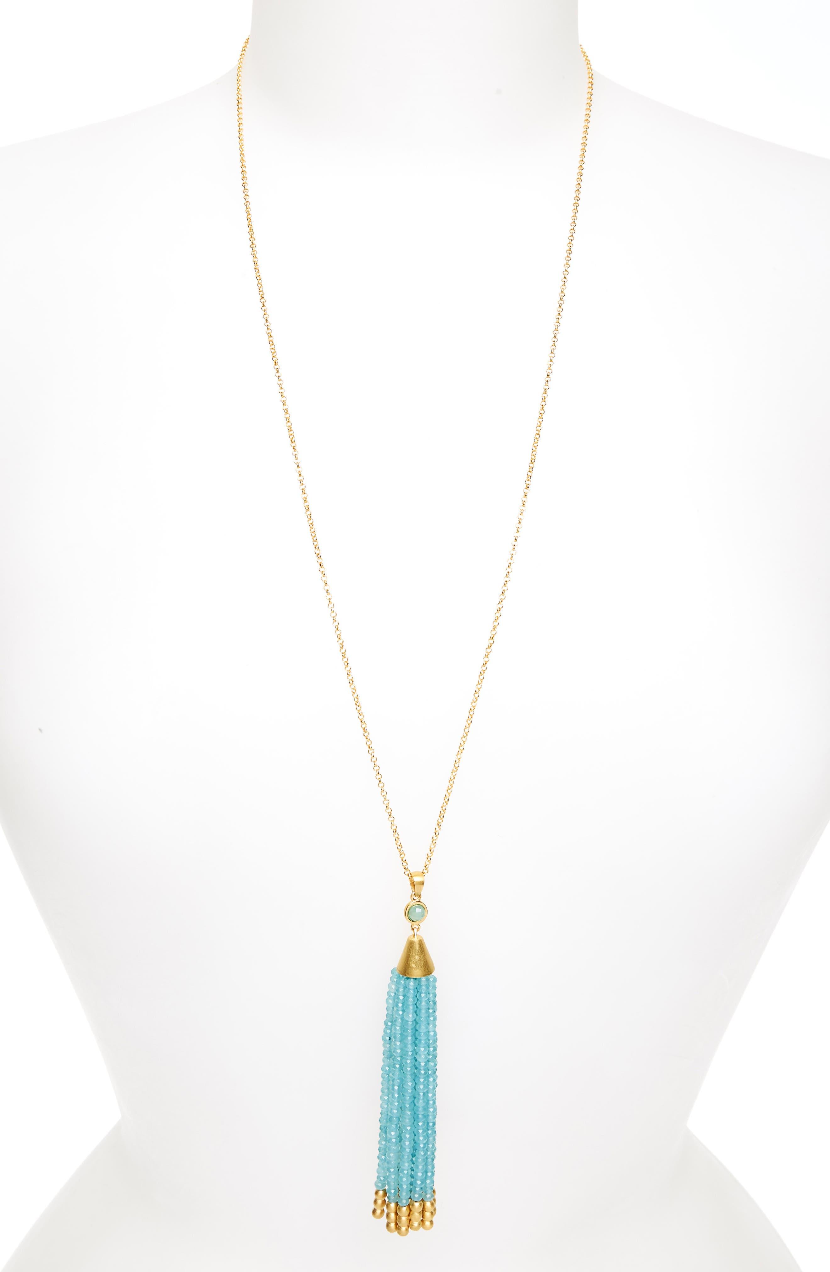 Samba Tassel Pendant Necklace,                             Main thumbnail 1, color,                             Ocean Blue Chalcedony/ Gold
