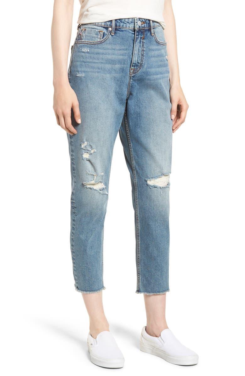 Distressed Crop Mom Jeans