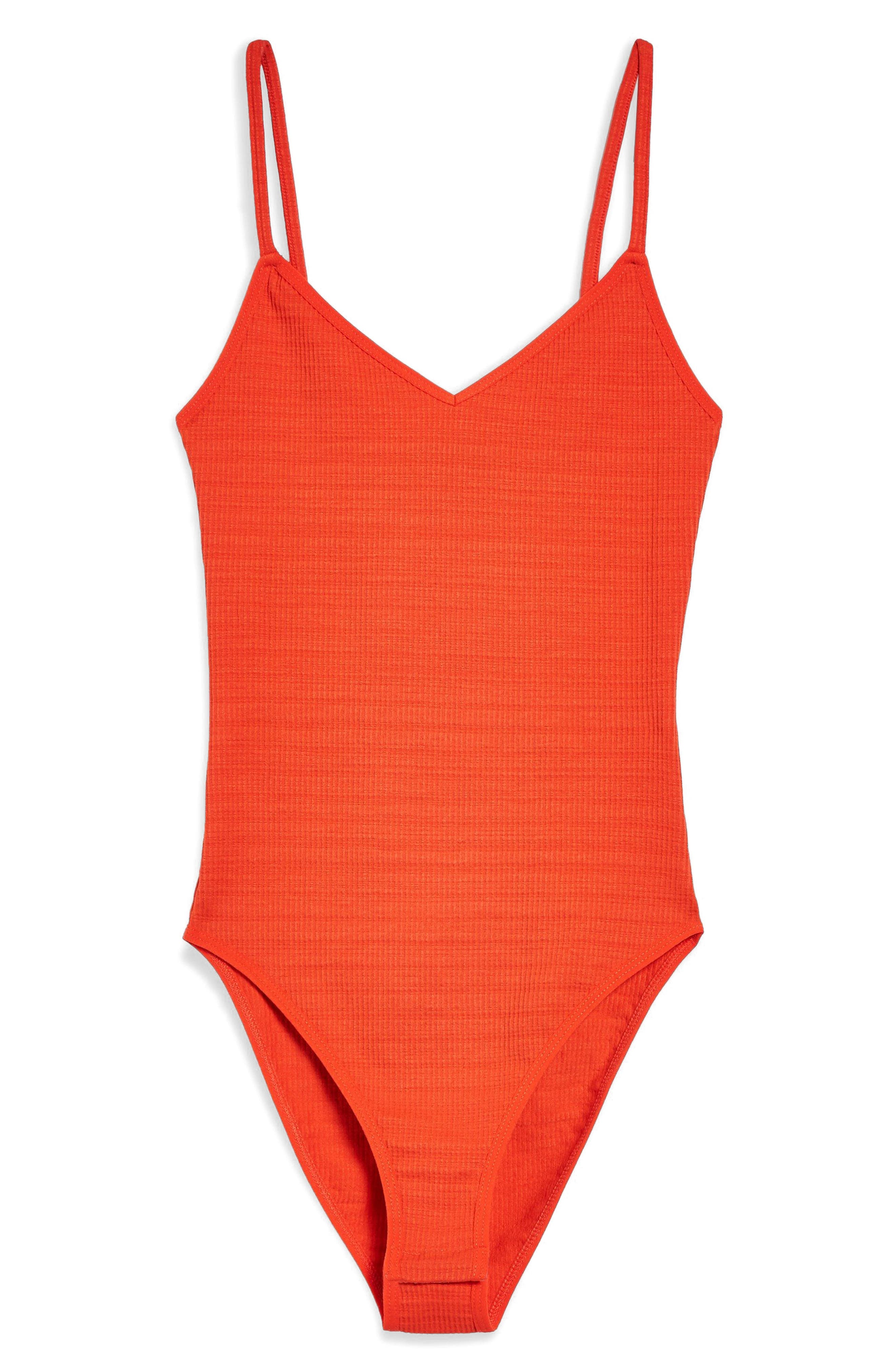 Ribbed Bodysuit,                             Alternate thumbnail 4, color,                             Red