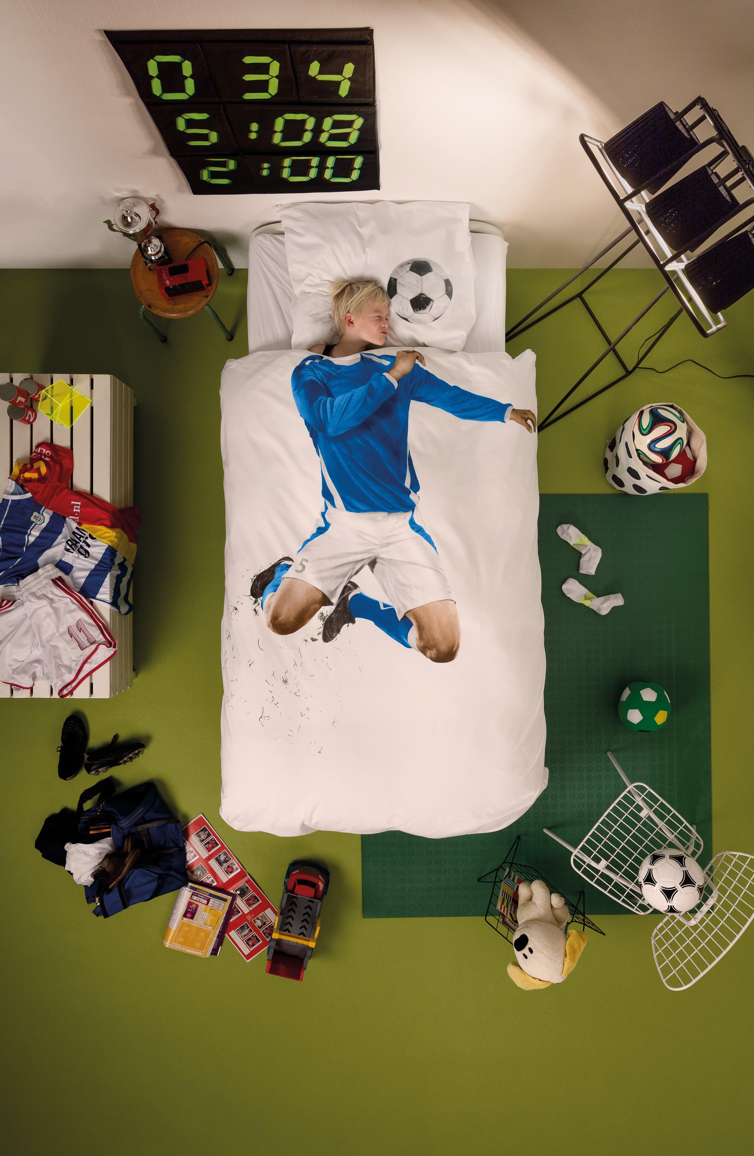 Soccer Player Twin Duvet Cover & Pillowcase,                             Alternate thumbnail 2, color,                             White/ Blue