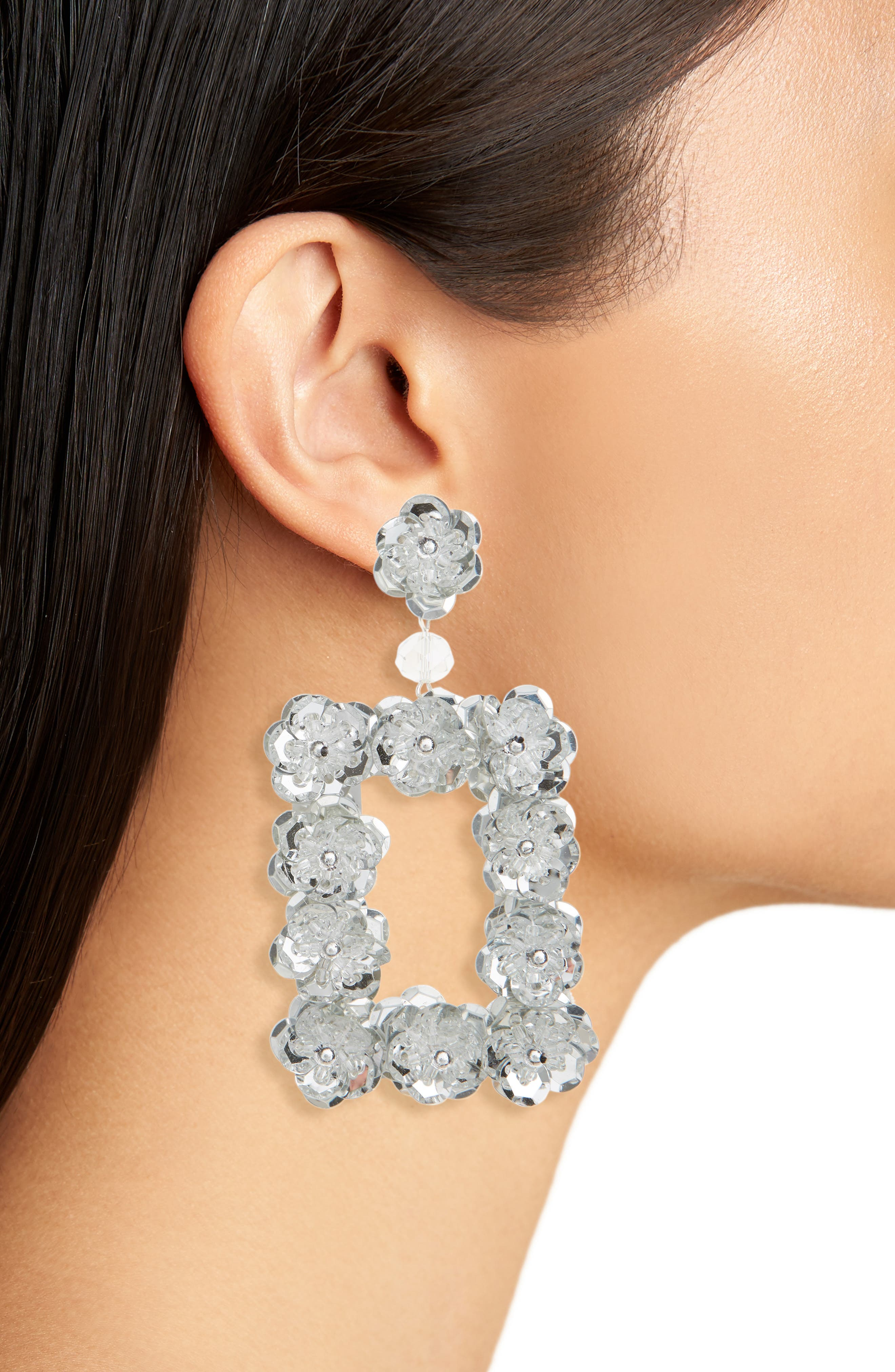 Opulent Floral Square Earrings,                             Alternate thumbnail 2, color,                             Silver/ Crystal