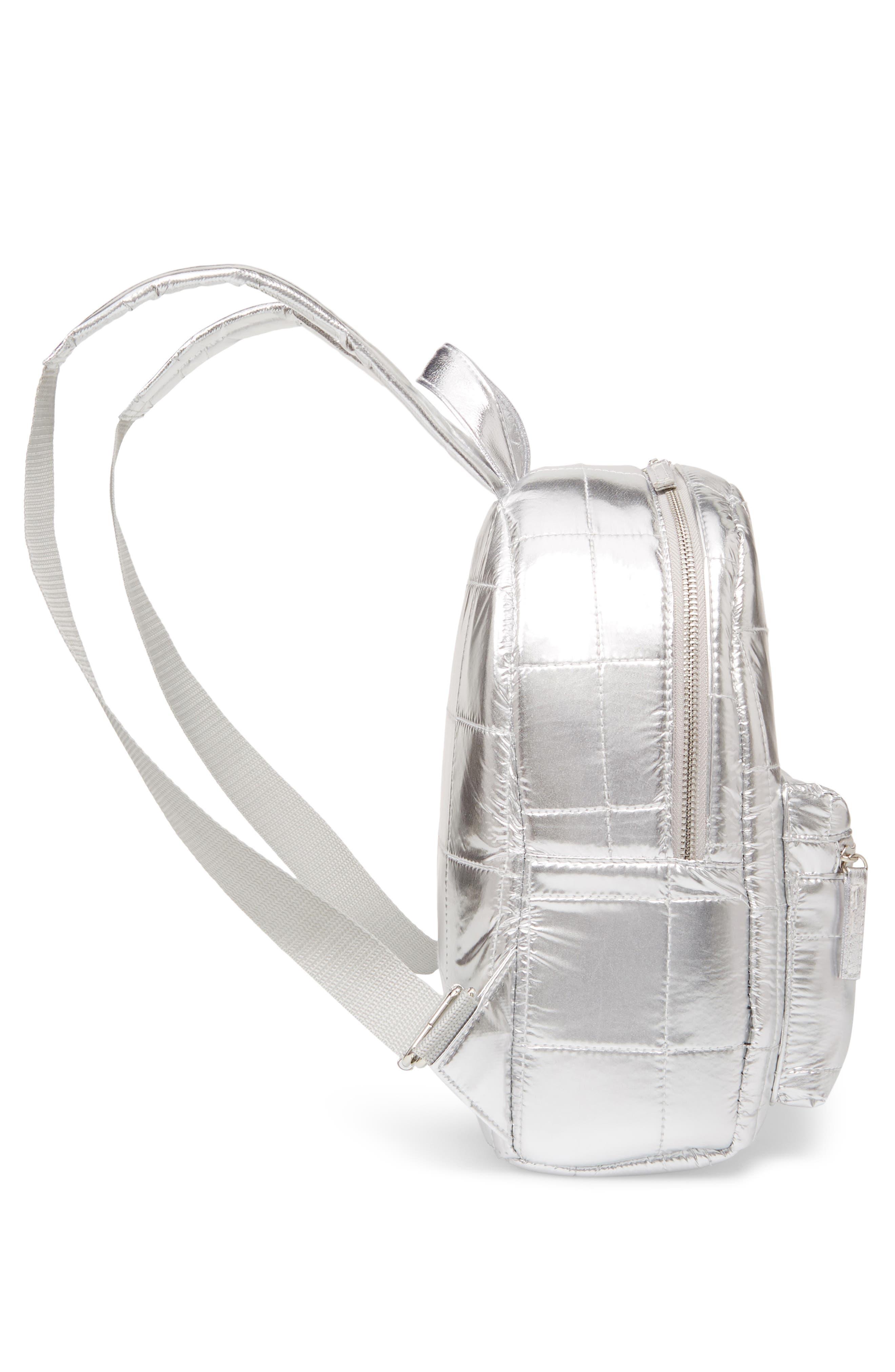 Mini Metallic Puffer Backpack,                             Alternate thumbnail 4, color,                             Silver
