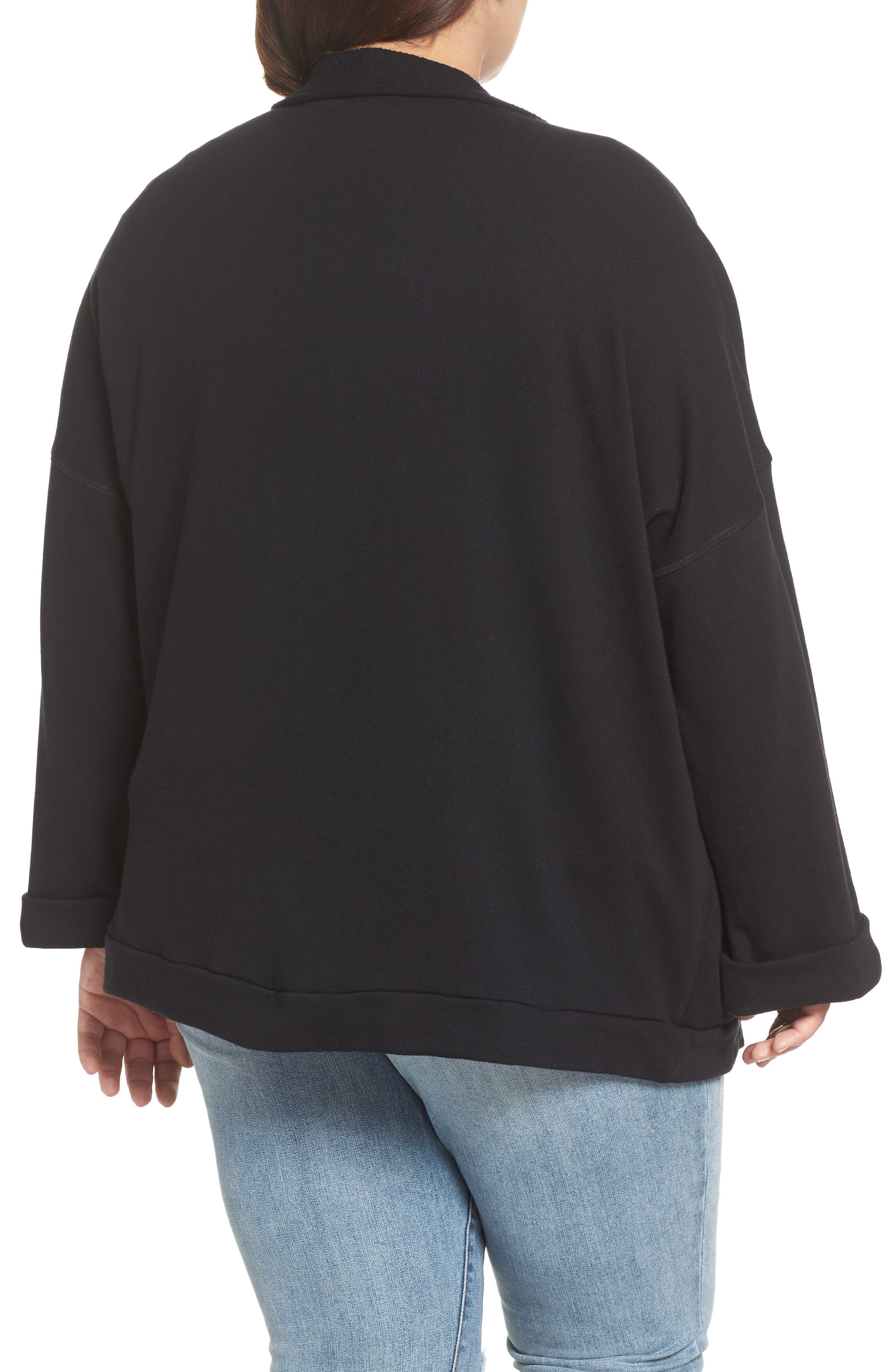 Knit Roll Sleeve Blazer,                             Alternate thumbnail 2, color,                             Black