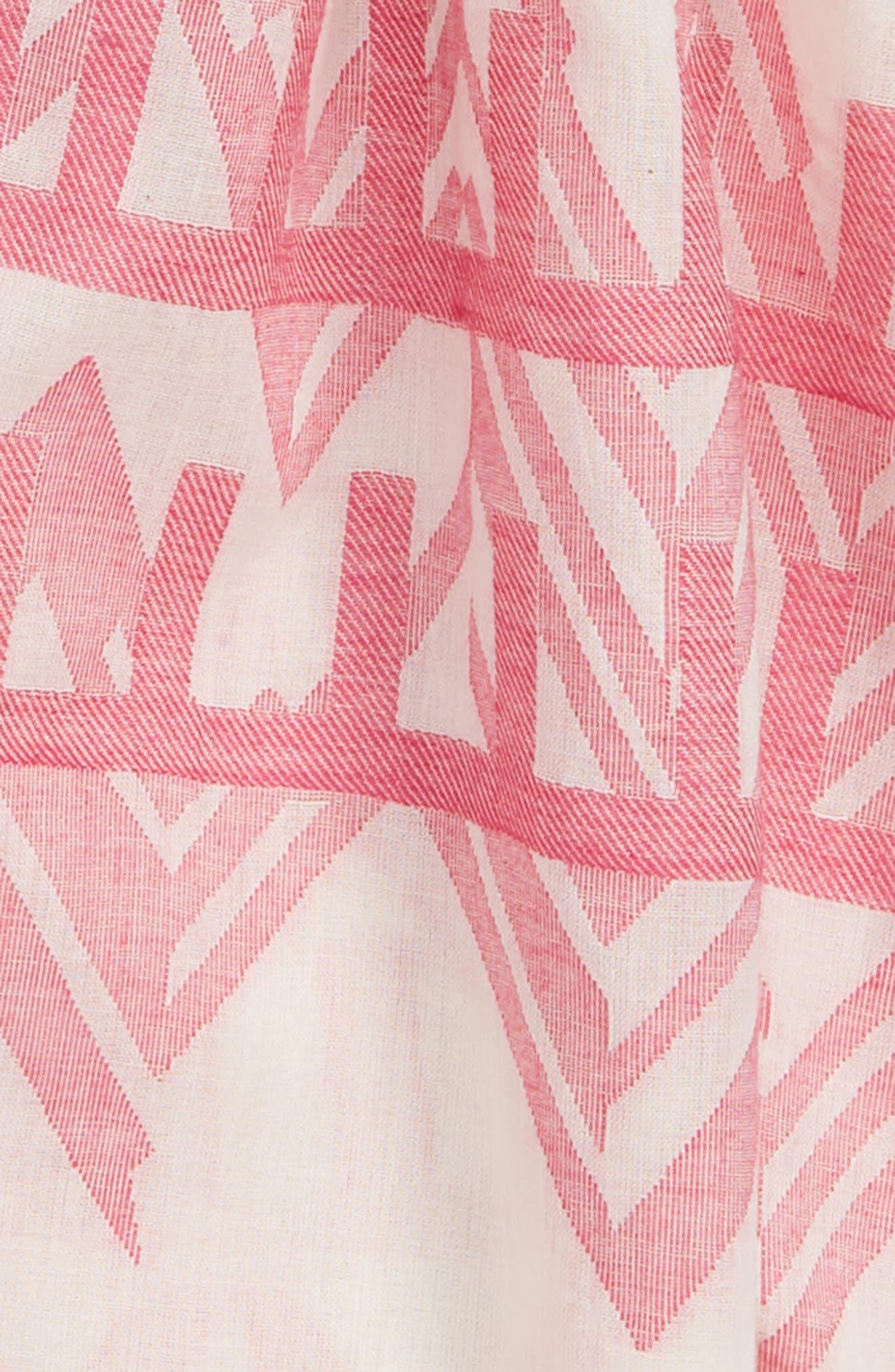 Jacquard Print Cotton Scarf,                             Alternate thumbnail 3, color,                             Cream Multi