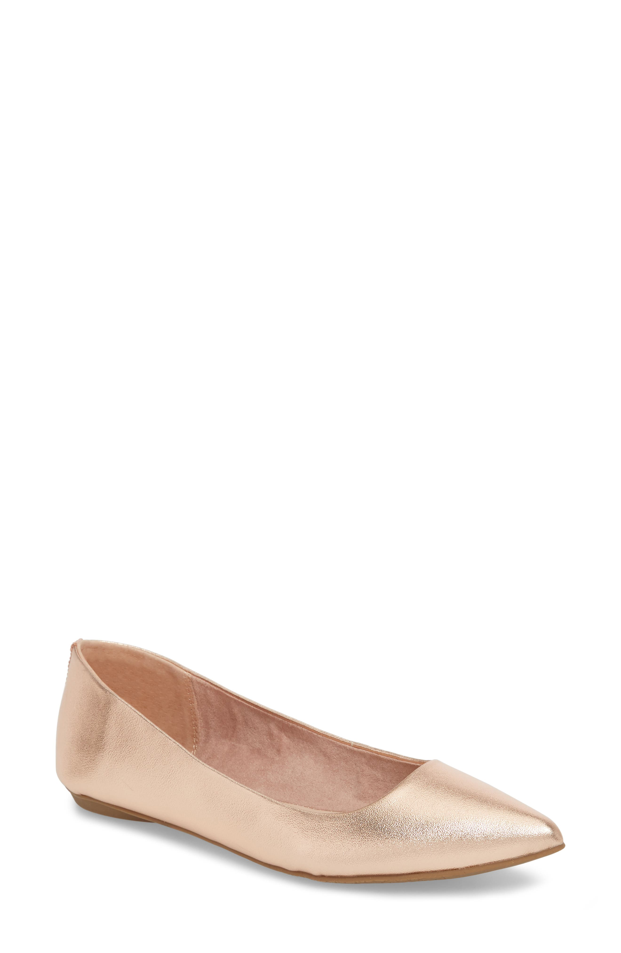 Sasha Flat,                             Main thumbnail 1, color,                             Rose Gold Faux Leather