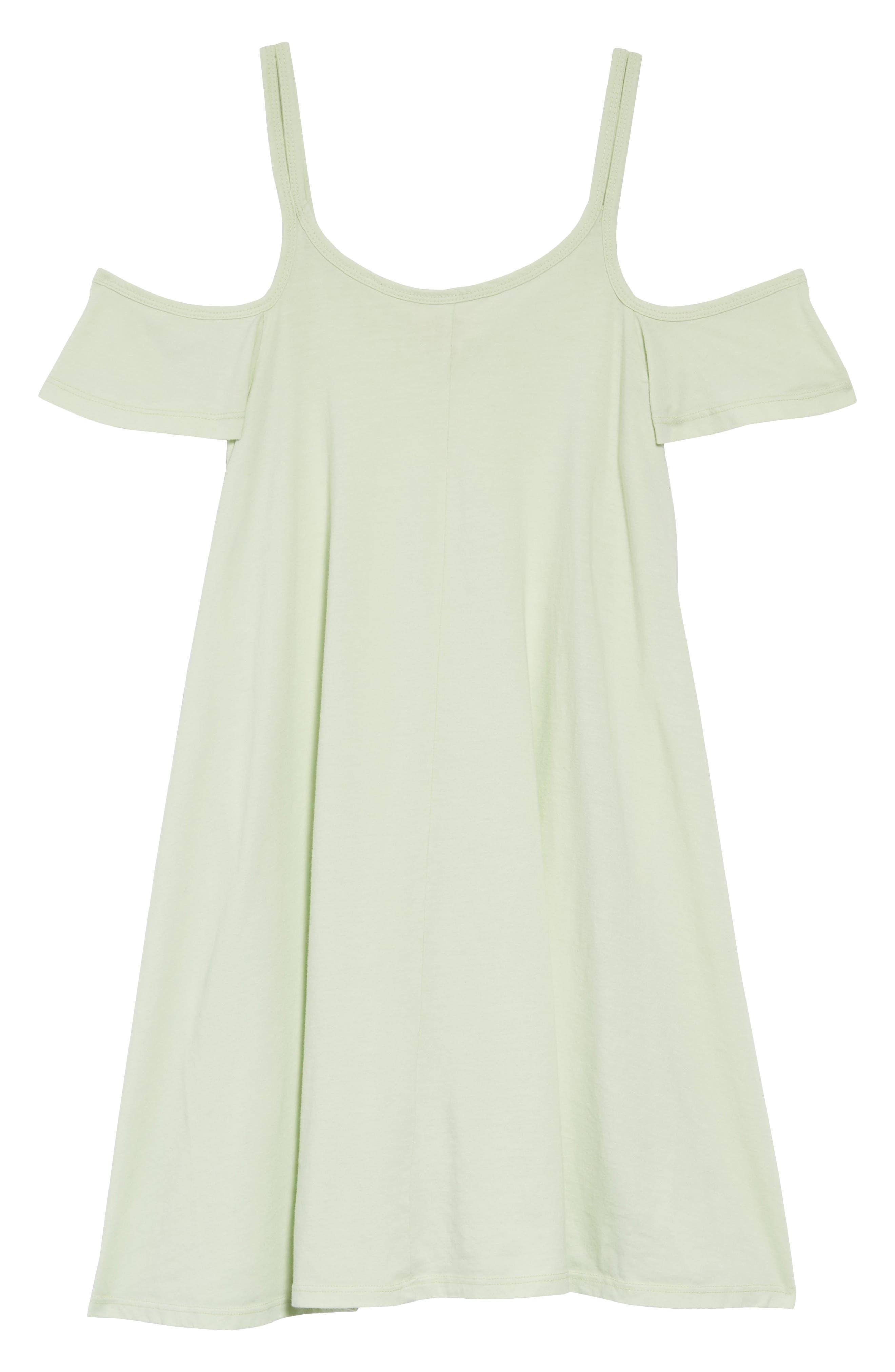 Cold Shoulder Swing Dress,                         Main,                         color, Green