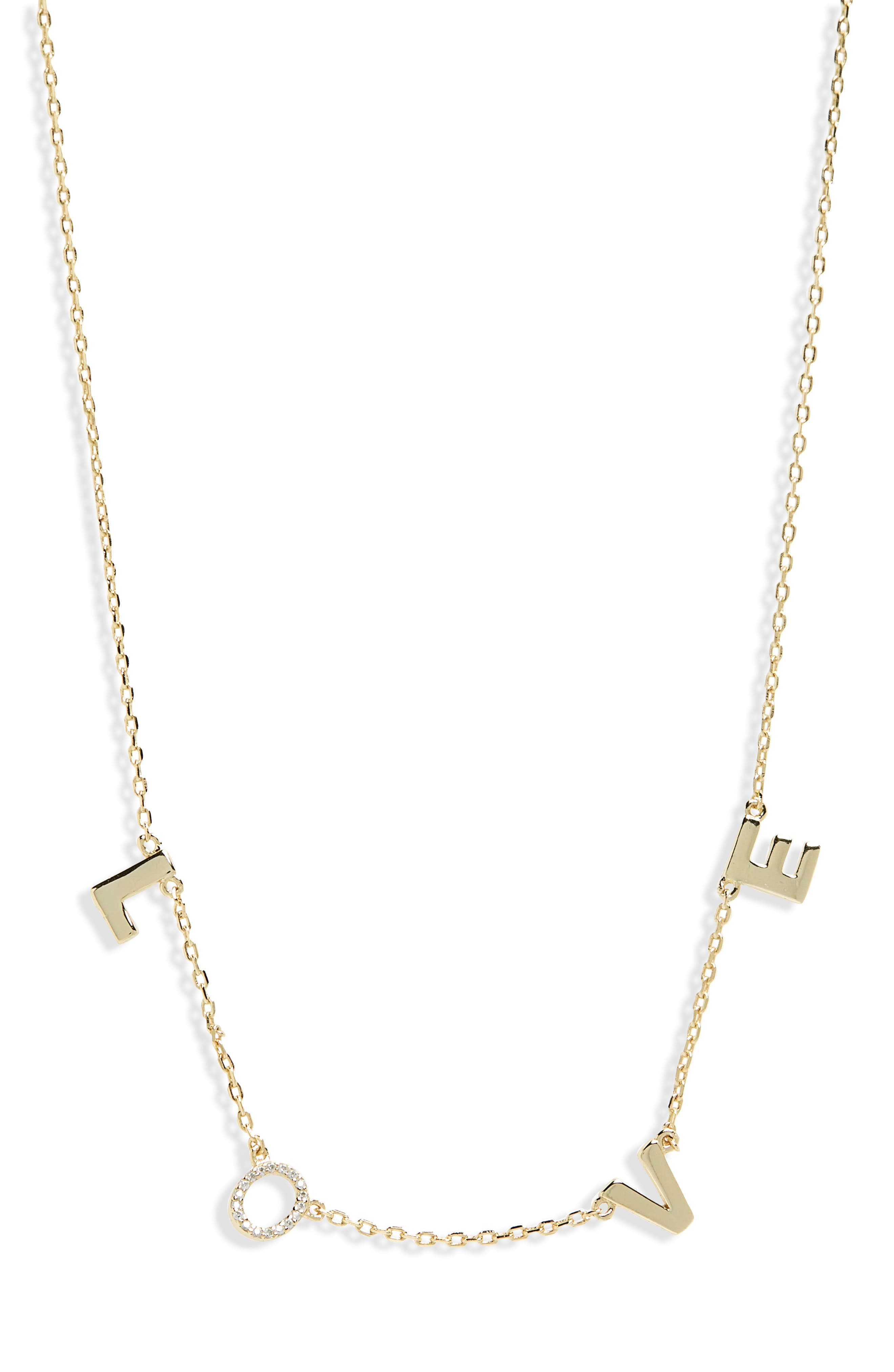 Crystal Love Necklace,                         Main,                         color, Yellow Gold