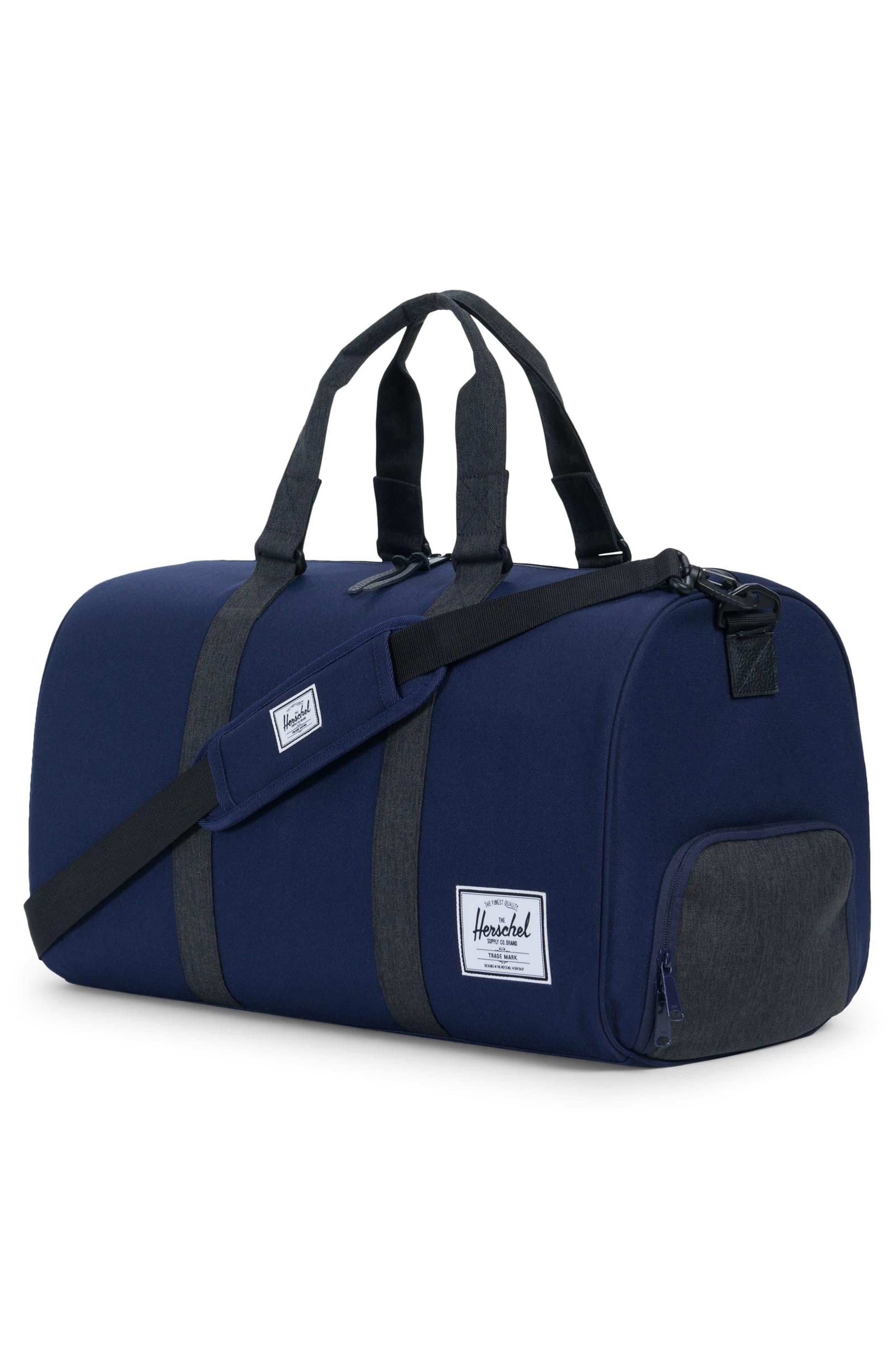 HERSCHEL SUPPLY CO. 'NOVEL' DUFFEL BAG - BLUE, PEA COAT/ BLACK CROSSHATCH