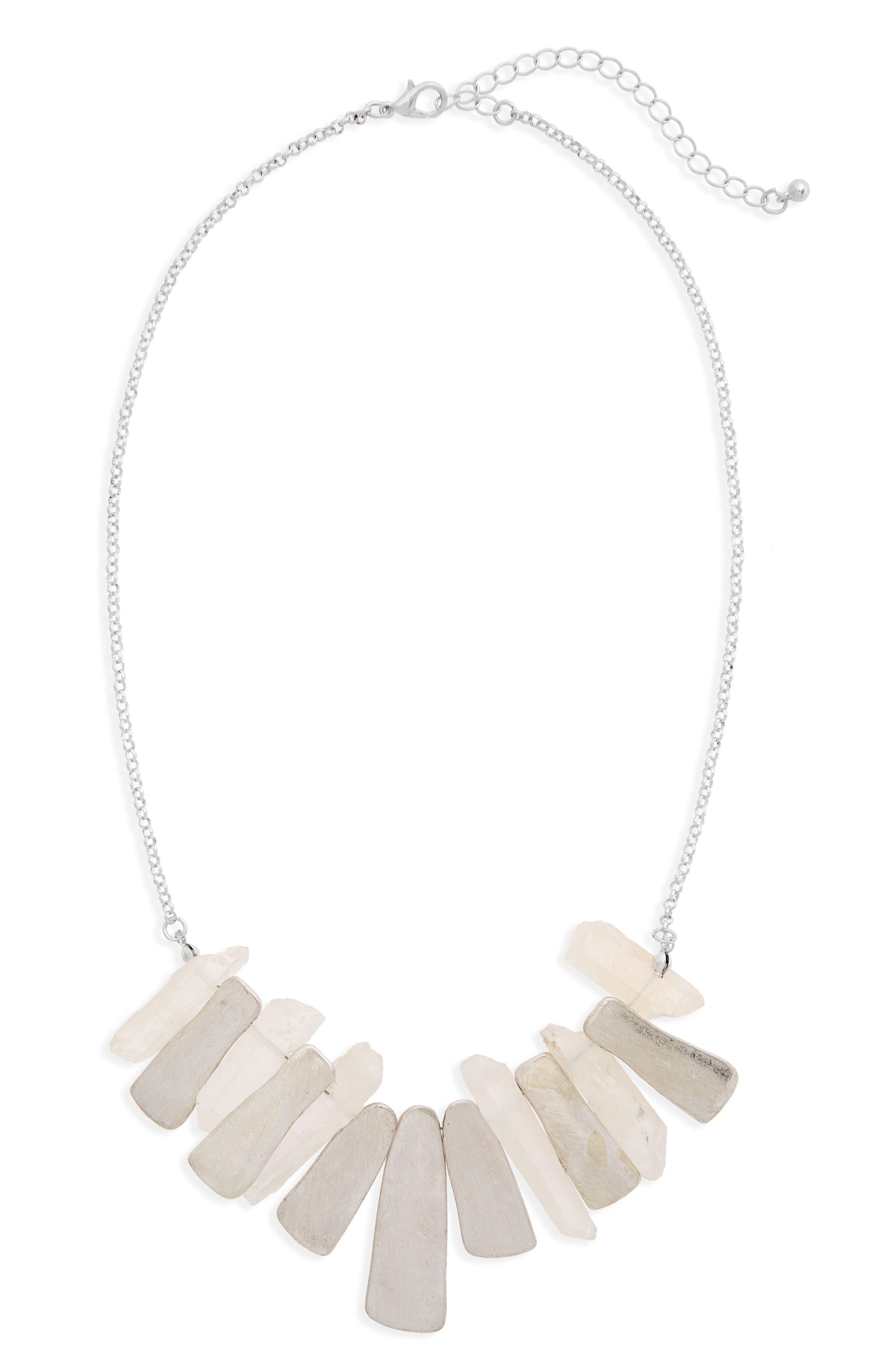 Pyrite Stone Necklace,                         Main,                         color, White/ Silver
