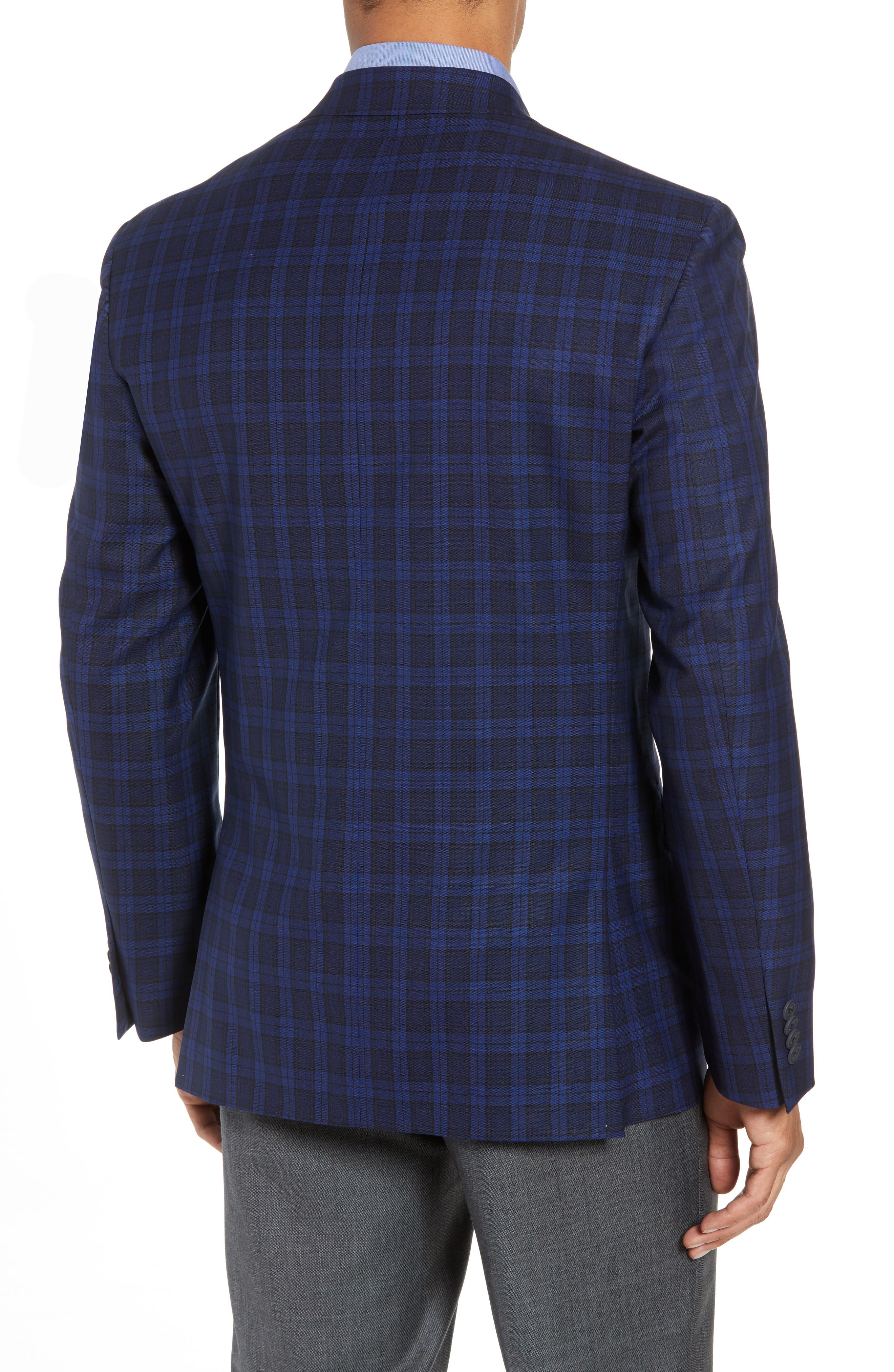 Traditional Fit Plaid Wool Sport Coat,                             Alternate thumbnail 2, color,                             Blue