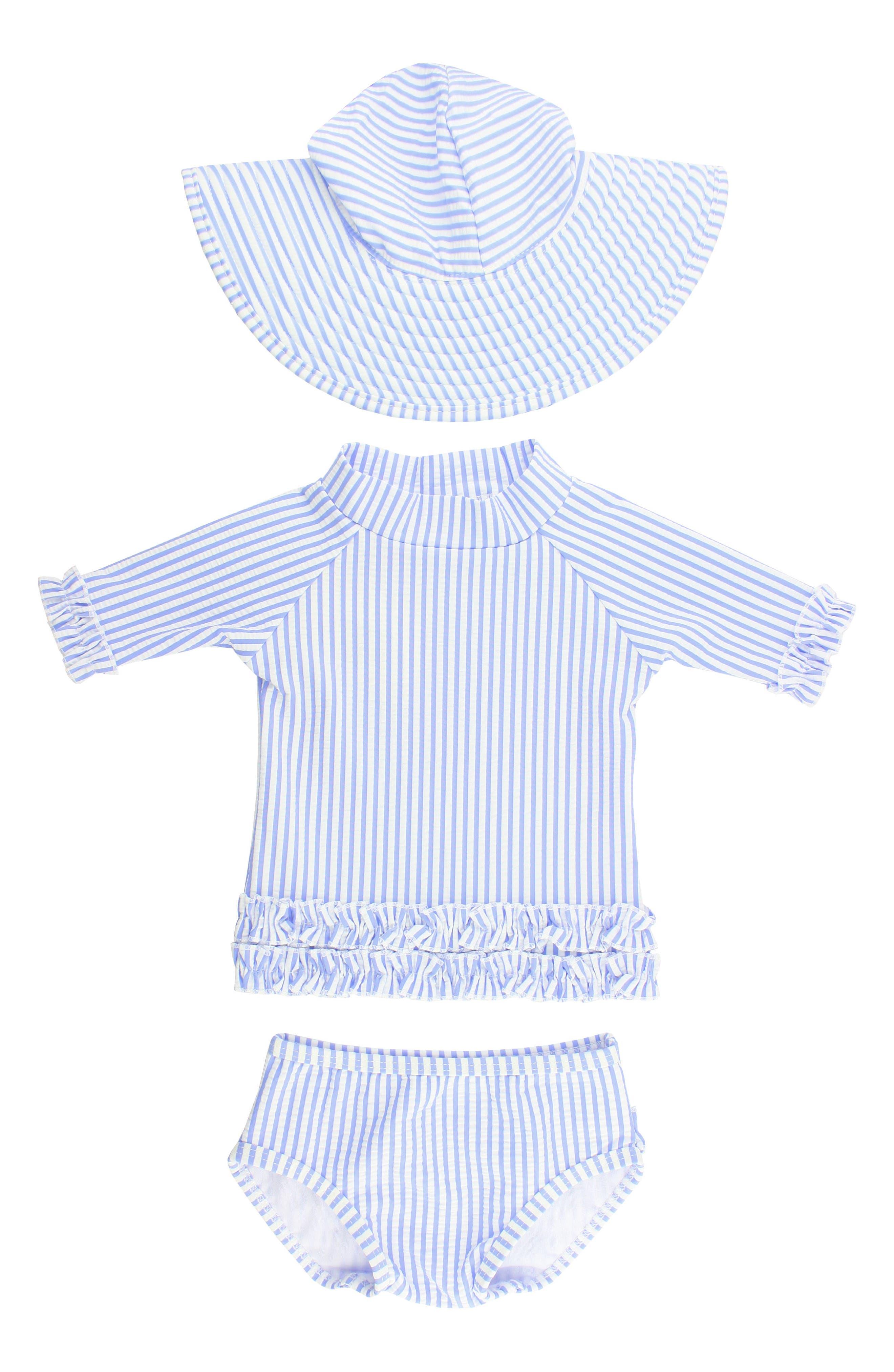 Seersucker Two-Piece Rashguard Swimsuit & Hat Set,                         Main,                         color, Blue