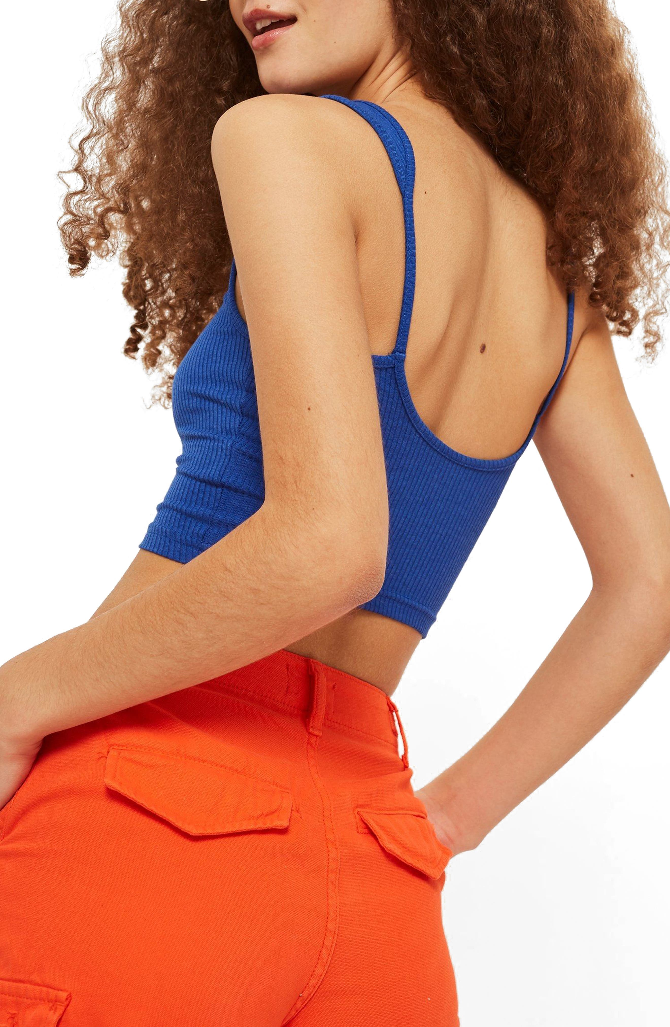Strappy Scoopback Crop Tank,                             Alternate thumbnail 2, color,                             Blue