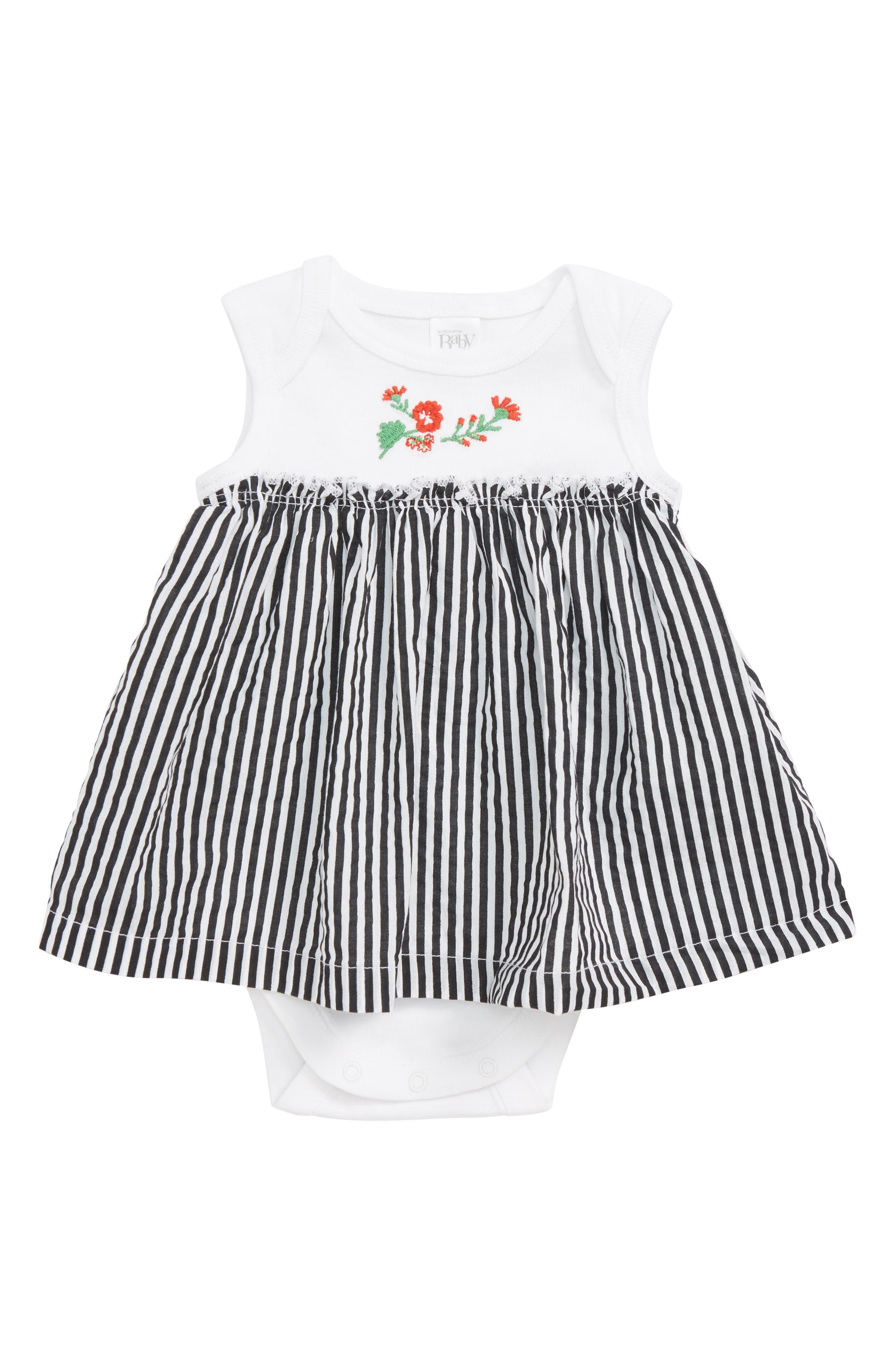 Embroidered Dress,                         Main,                         color, White Mini Vertical Stripe