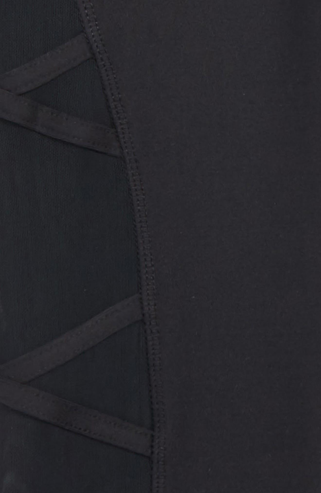 Mesh Crisscross Crop Leggings,                             Alternate thumbnail 2, color,                             Black