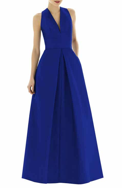 Alfred Sung V-Neck Dupioni Evening Gown (Regular   Plus Size) f4e7312a3