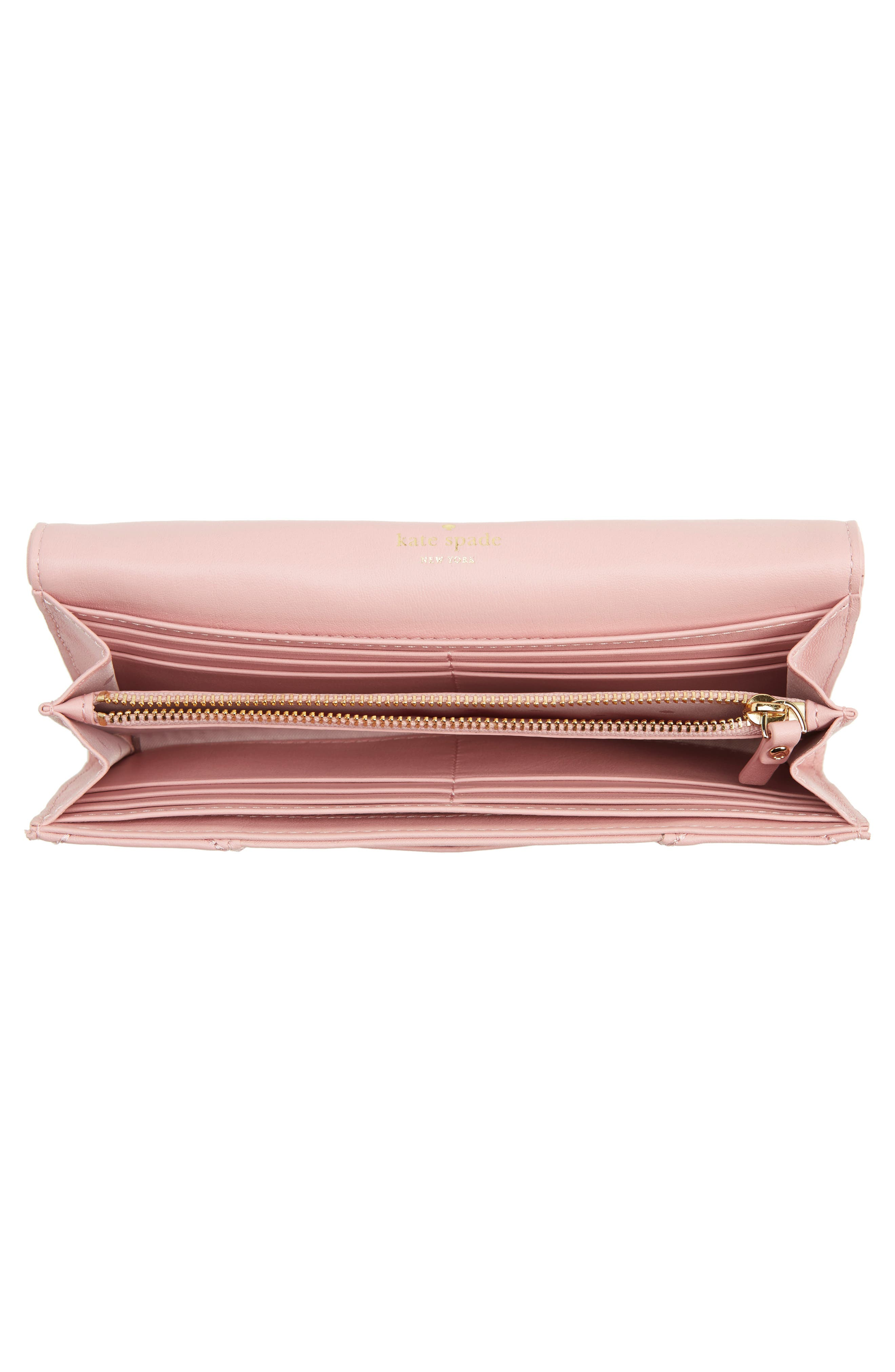 emerson place - kinsley quilted leather wallet,                             Alternate thumbnail 3, color,                             Rosy Cheeks