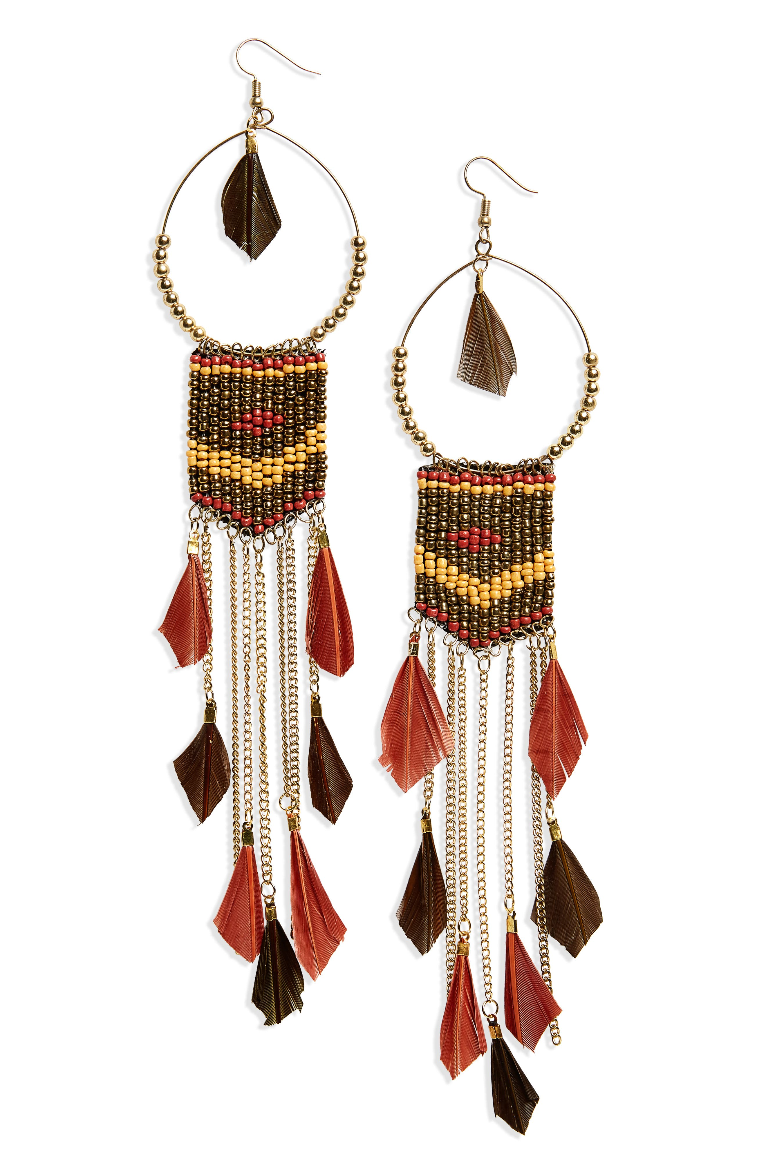 Feather Beaded Drop Earrings,                         Main,                         color, Brown/ Multi