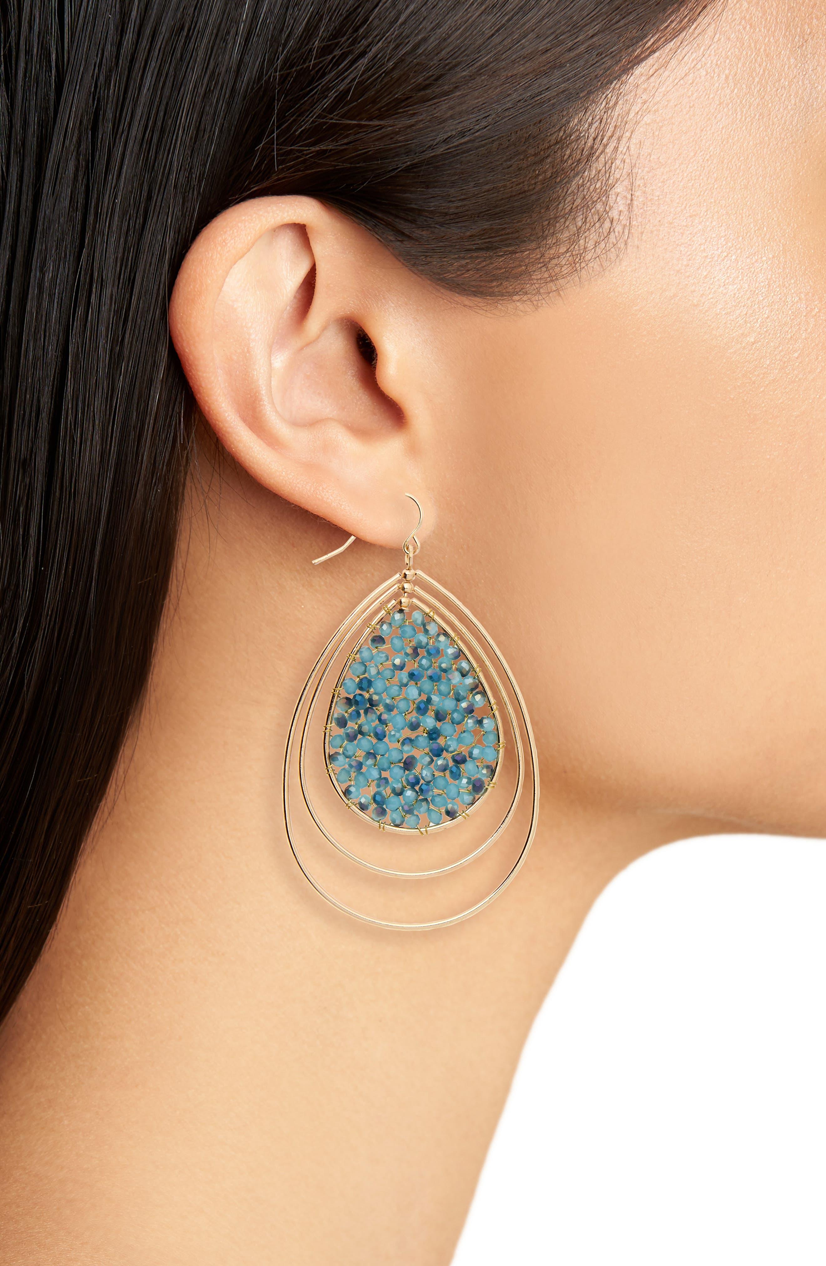 Triple Teardrop Earrings,                             Alternate thumbnail 2, color,                             Blue
