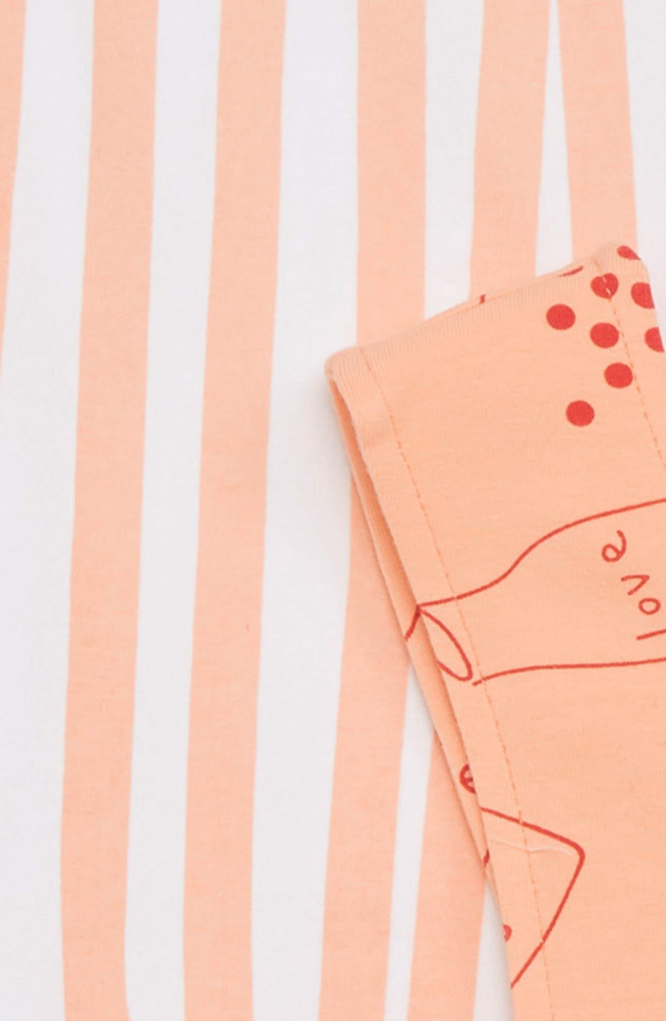 Stripe Tee & Sprinkle Love Pinafore Dress Set,                             Alternate thumbnail 2, color,                             White / Peach