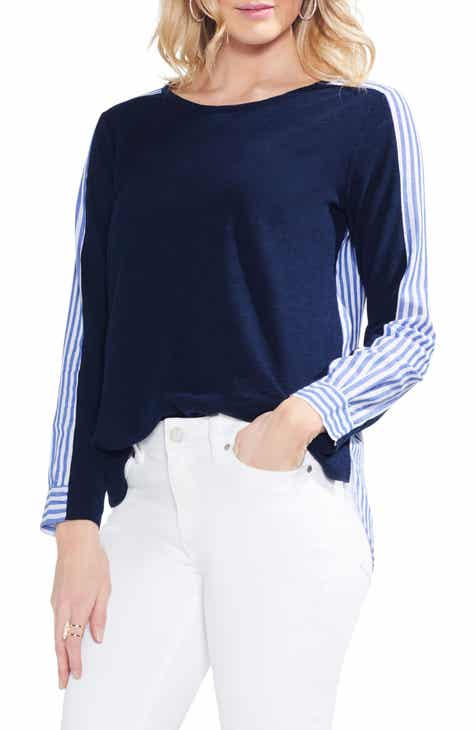 Vince Camuto Mixed Media Cotton Blouse