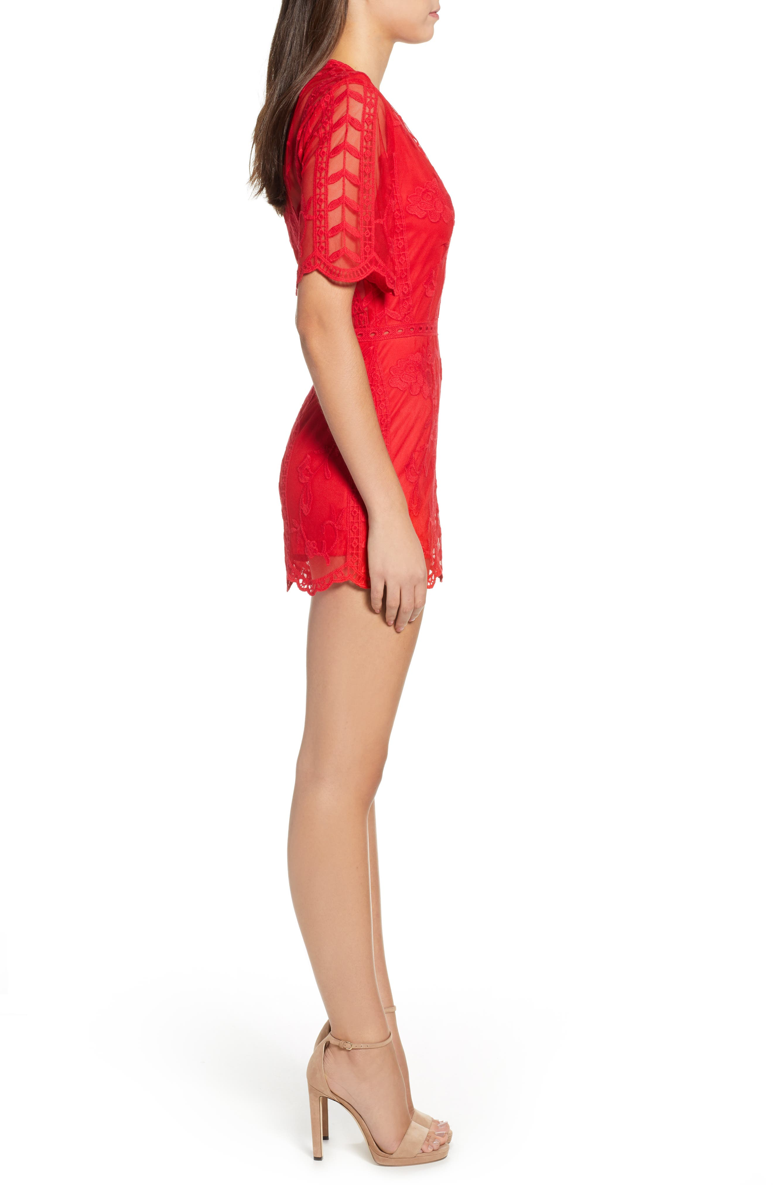 Plunging Lace Romper,                             Alternate thumbnail 3, color,                             Red Lipstick