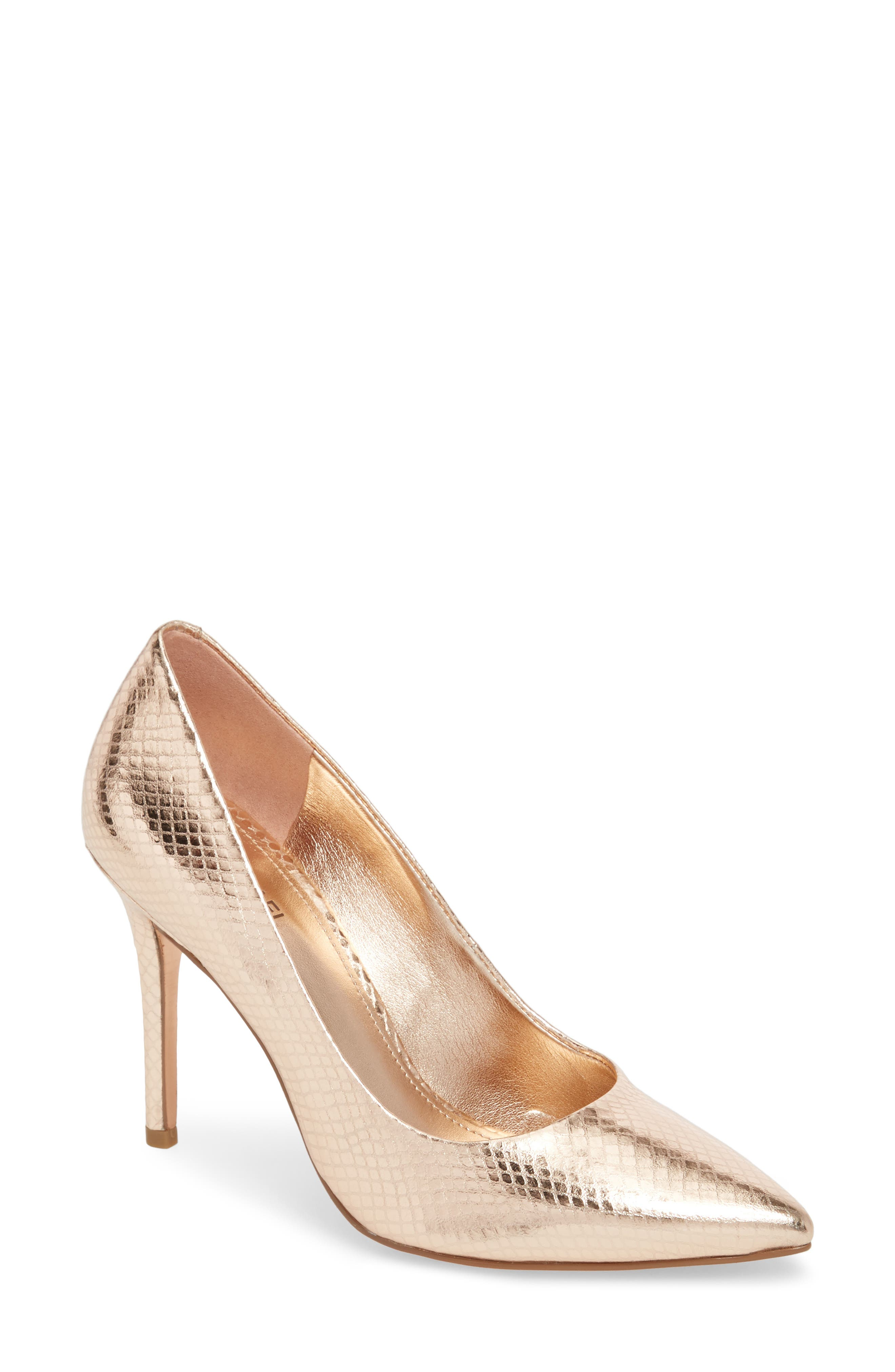 Claire Pointy Toe Pump,                             Main thumbnail 1, color,                             Soft Pink Snake Print Fabric