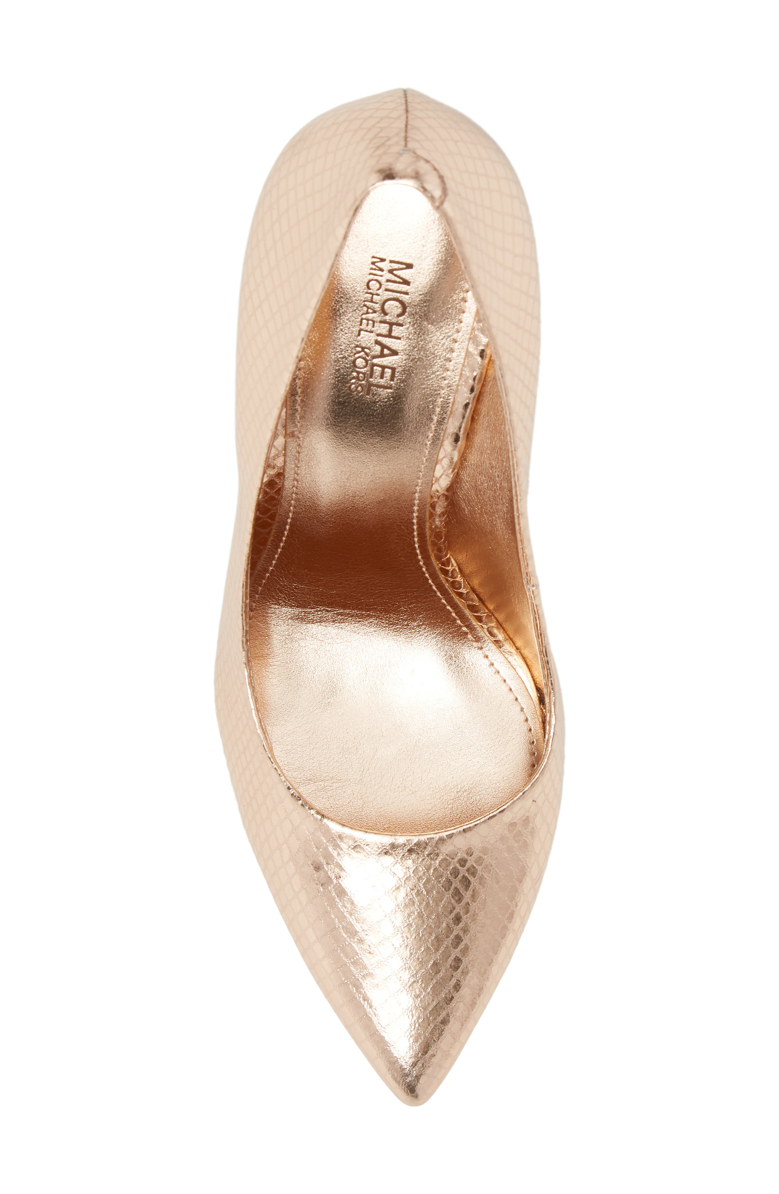 Claire Pointy Toe Pump,                             Alternate thumbnail 3, color,                             Soft Pink Snake Print Fabric