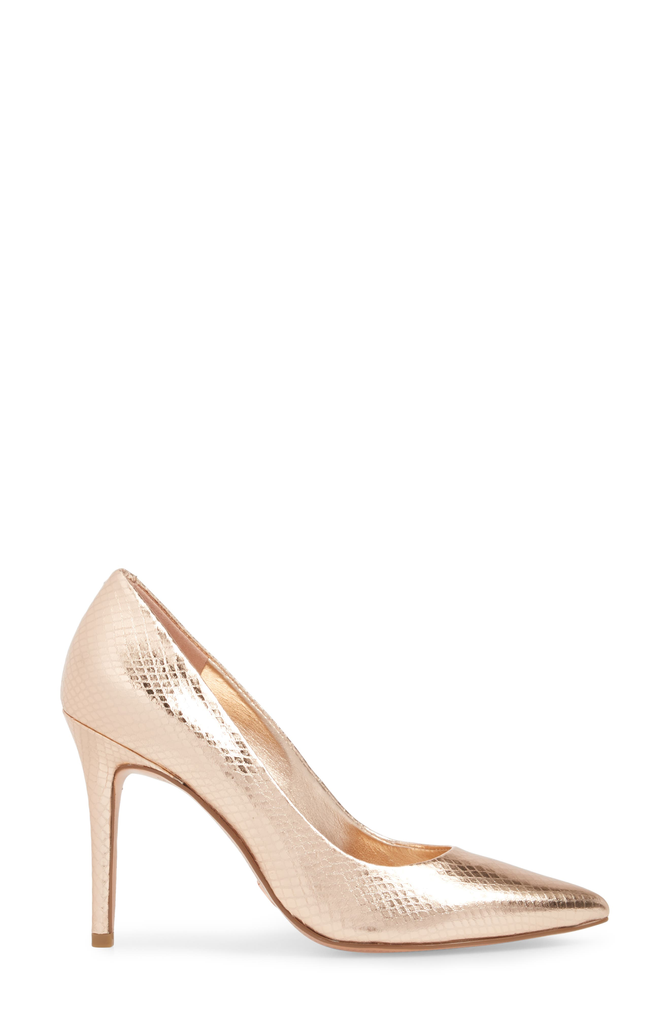 Claire Pointy Toe Pump,                             Alternate thumbnail 5, color,                             Soft Pink Snake Print Fabric