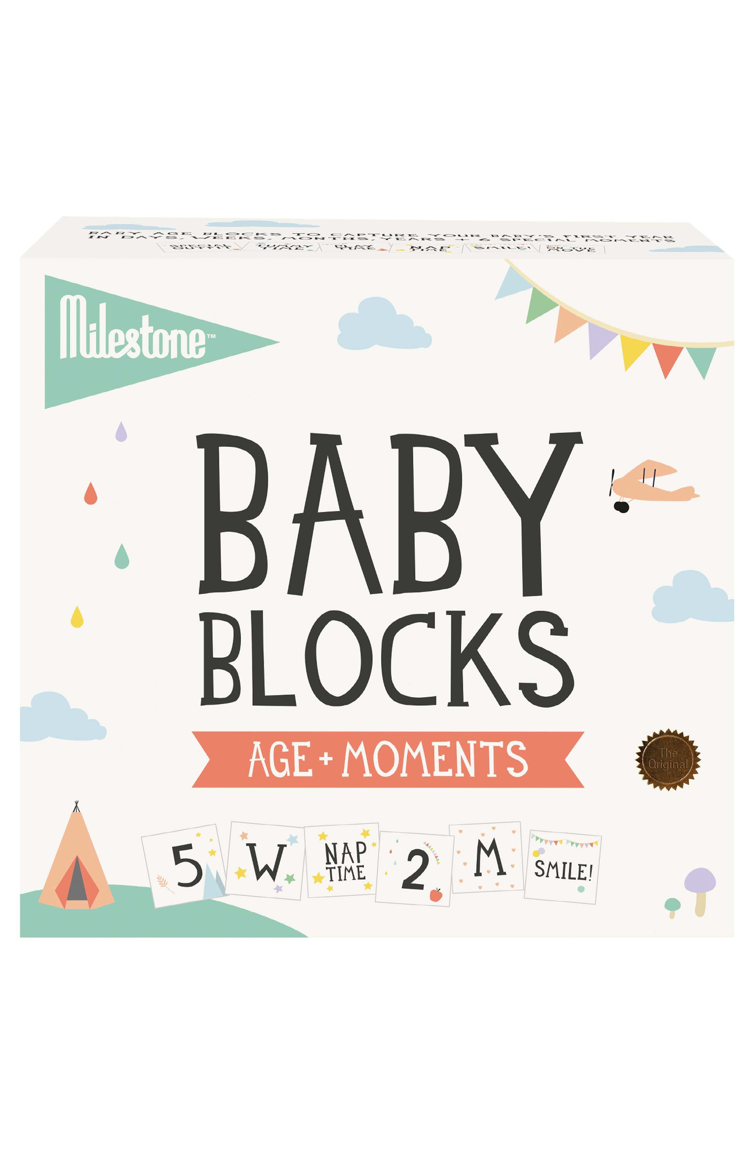 Milestone Baby Age + Moments Blocks,                             Main thumbnail 1, color,                             Off White