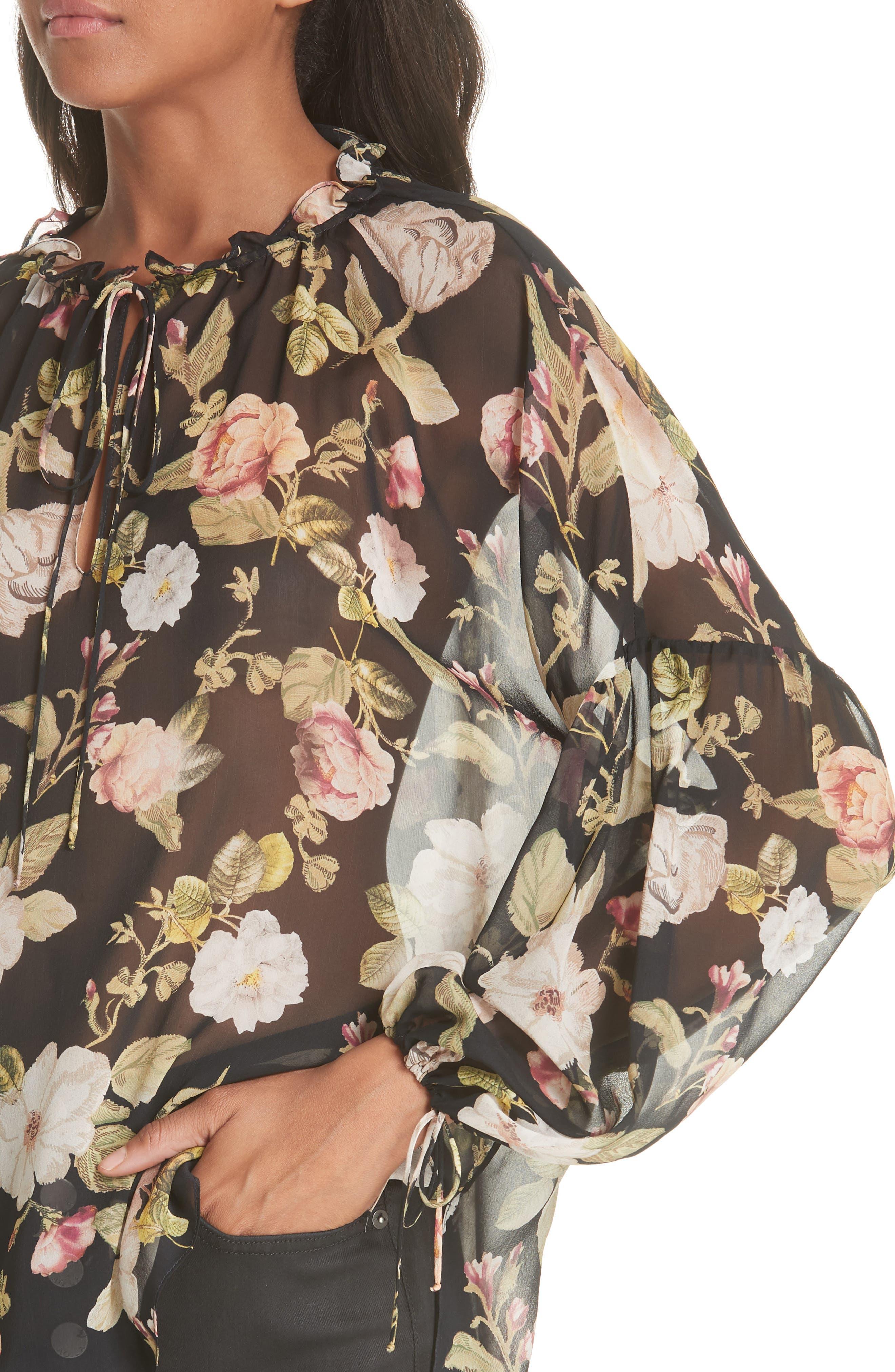Julius Sheer Silk Tunic Blouse,                             Alternate thumbnail 5, color,                             Hazy Floral Black