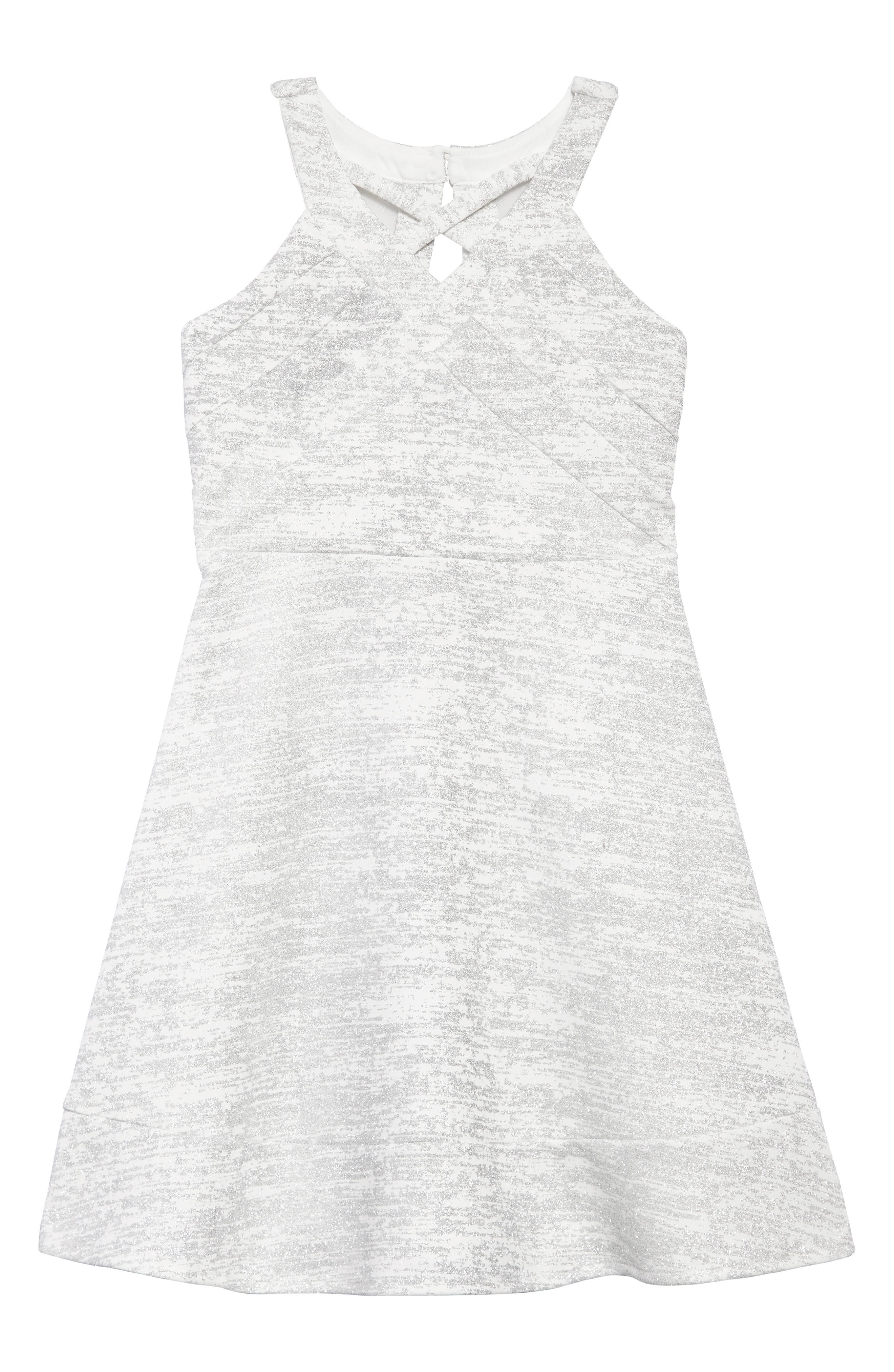 Glitter Scuba Skater Dress,                             Main thumbnail 1, color,                             Ivory/ Silver