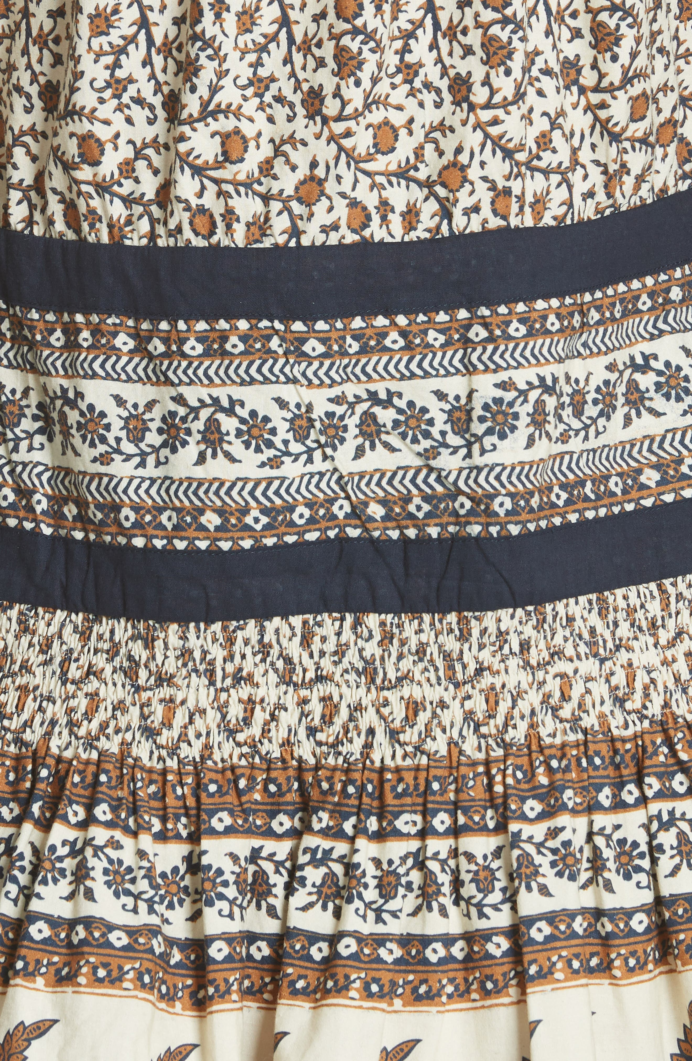 Contrast Binding Print Dress,                             Alternate thumbnail 5, color,                             Cafe