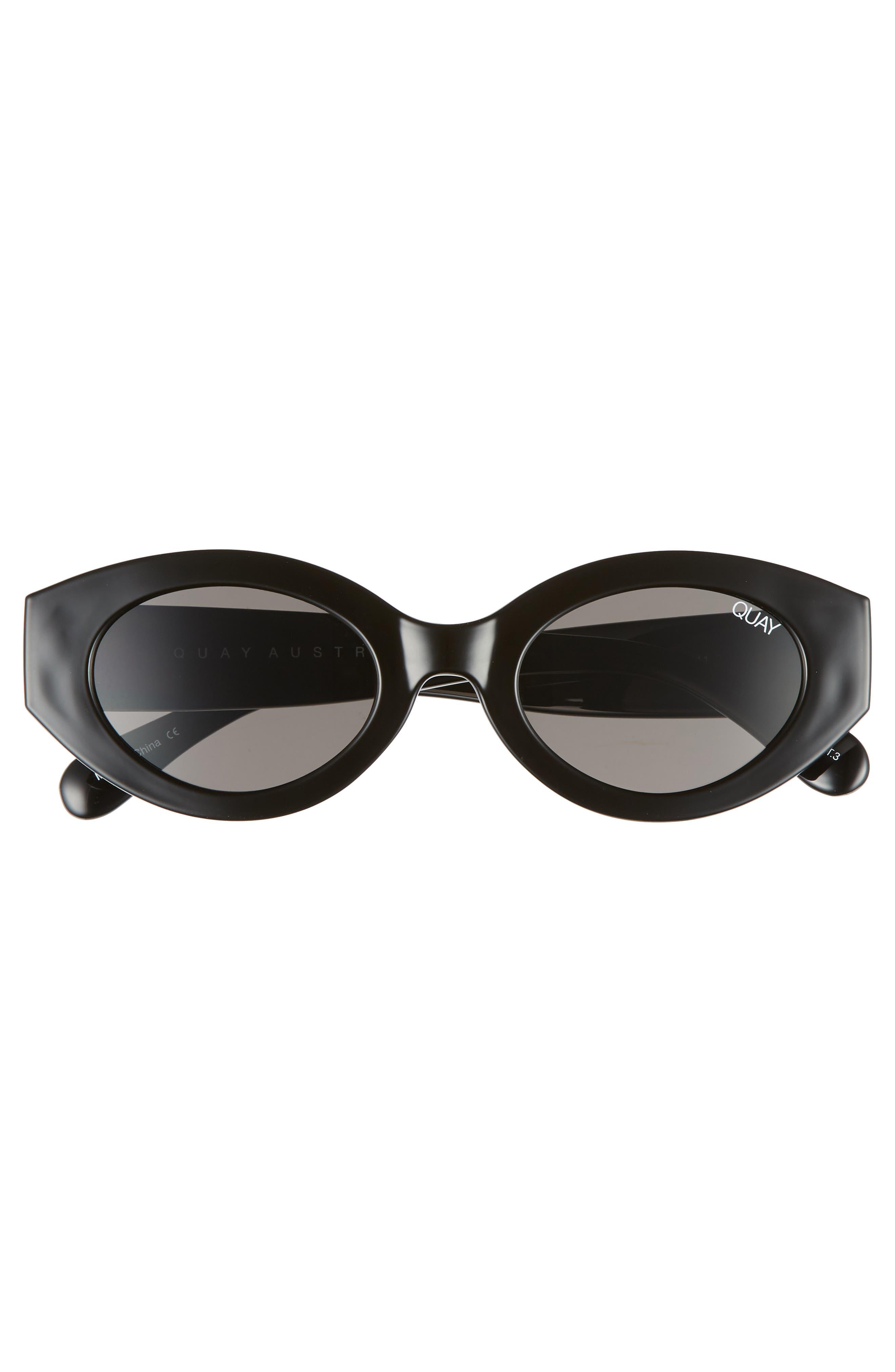 See Me Smile 50mm Cat Eye Sunglasses,                             Alternate thumbnail 4, color,                             Black/ Smoke