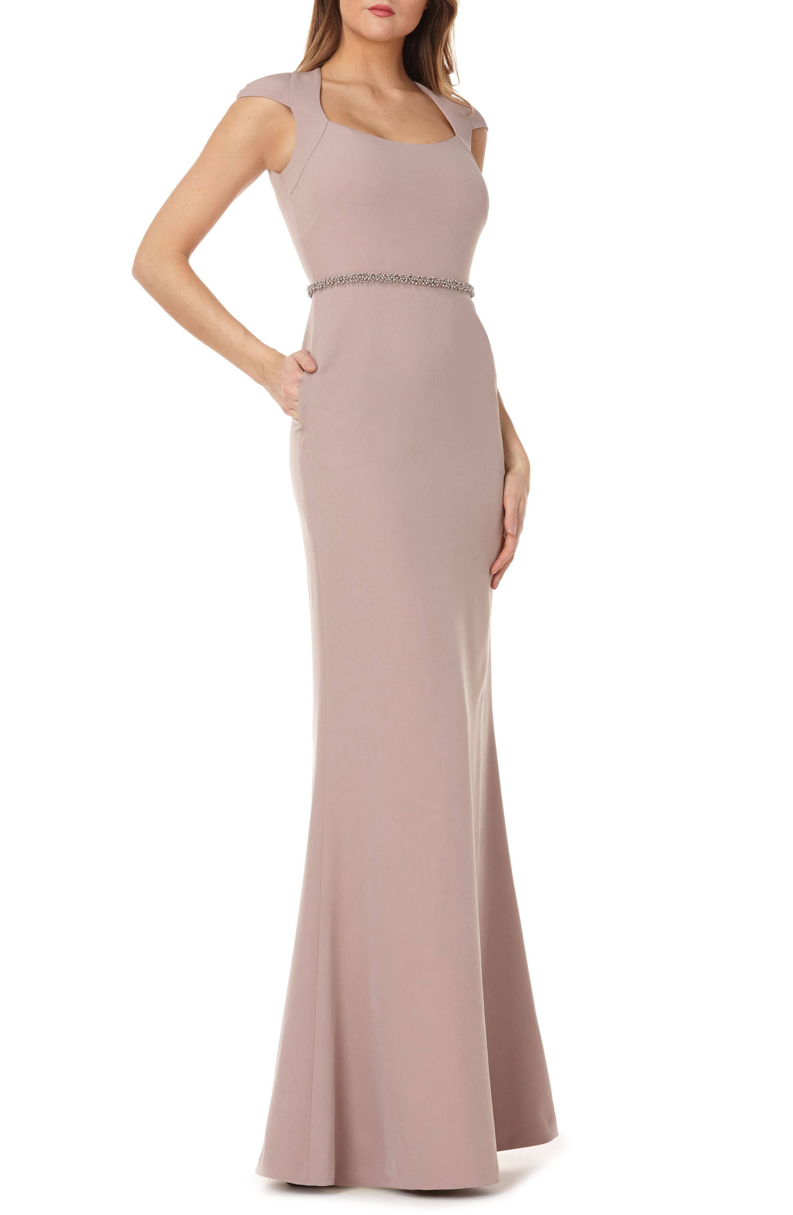 Cap Sleeve Stretch Crepe Gown,                             Main thumbnail 1, color,                             Taupe