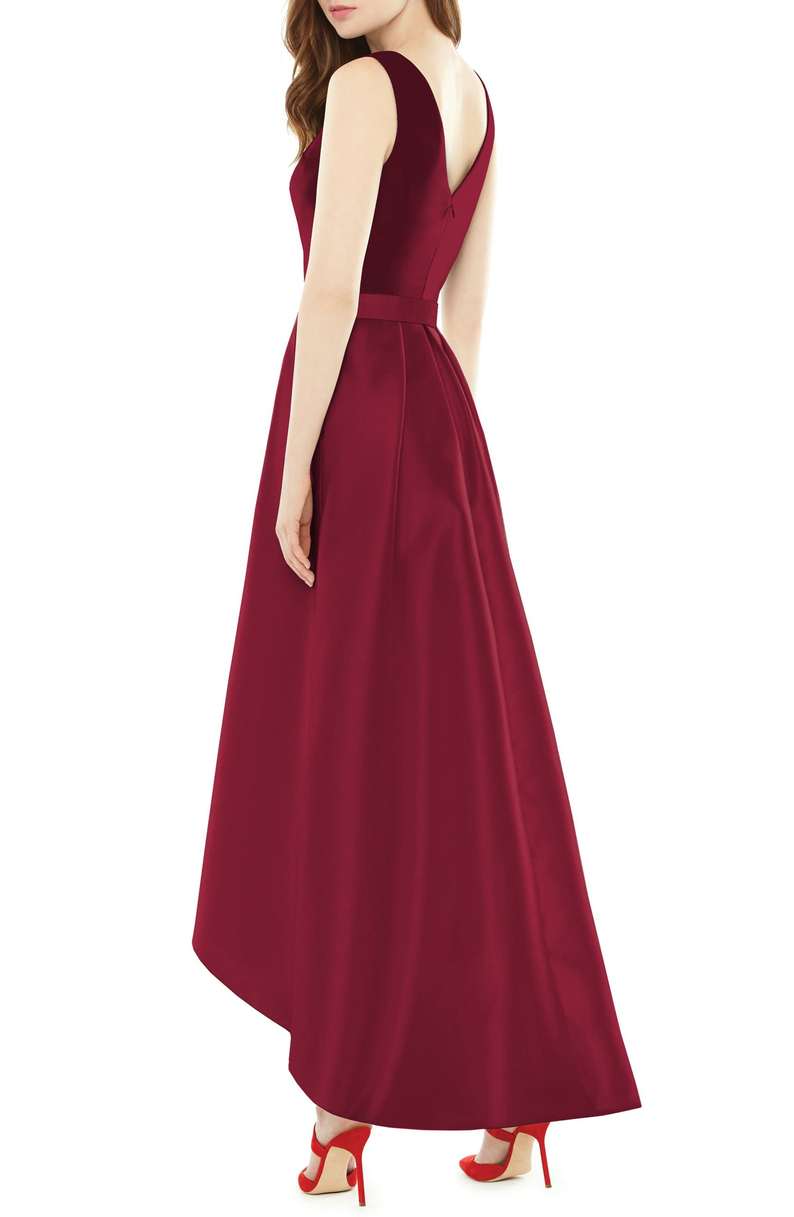 High/Low Sateen Twill Gown,                             Alternate thumbnail 2, color,                             Burgundy