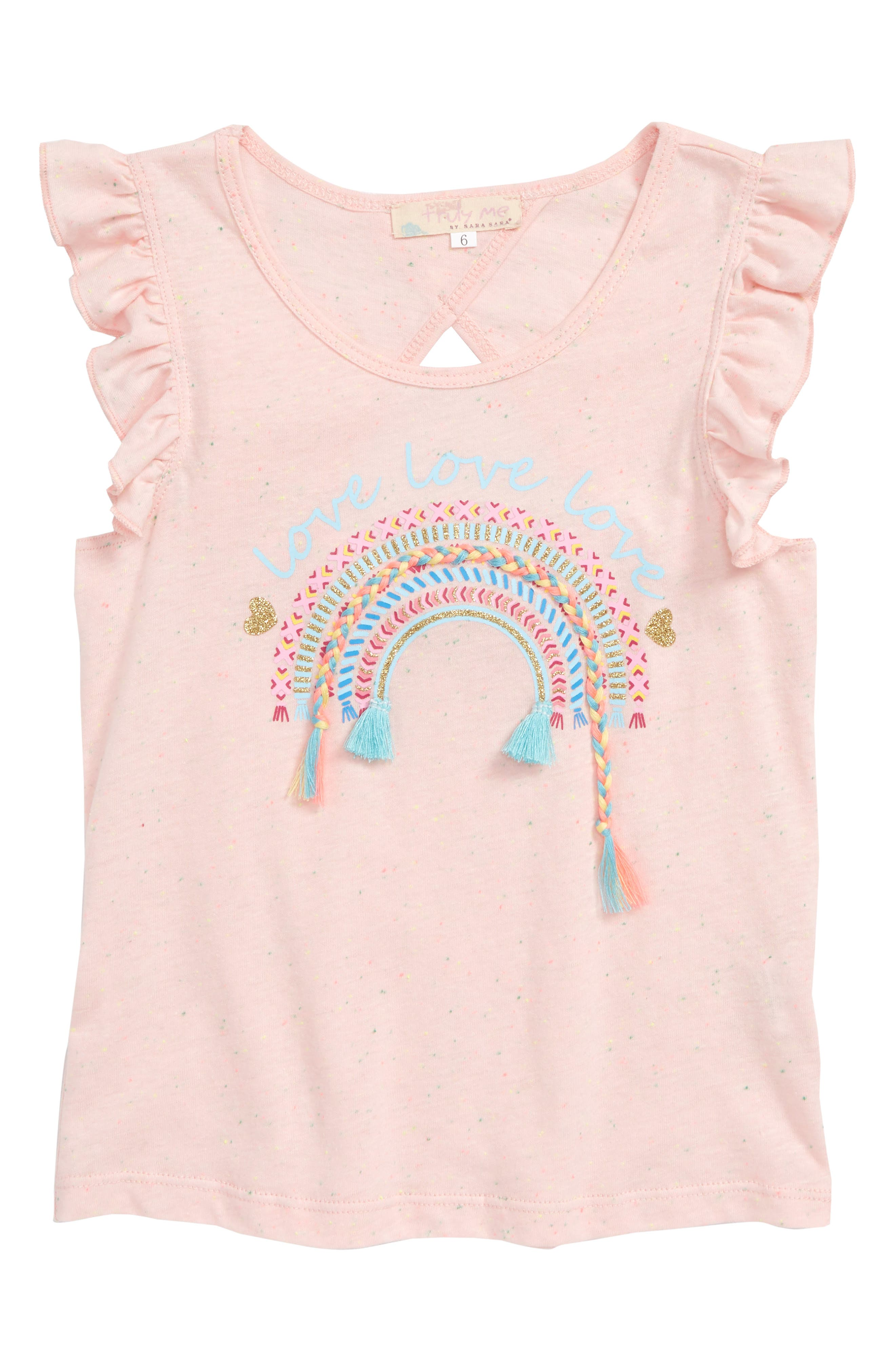 Love Glitter Embellished Tee,                             Main thumbnail 1, color,                             Light Pink