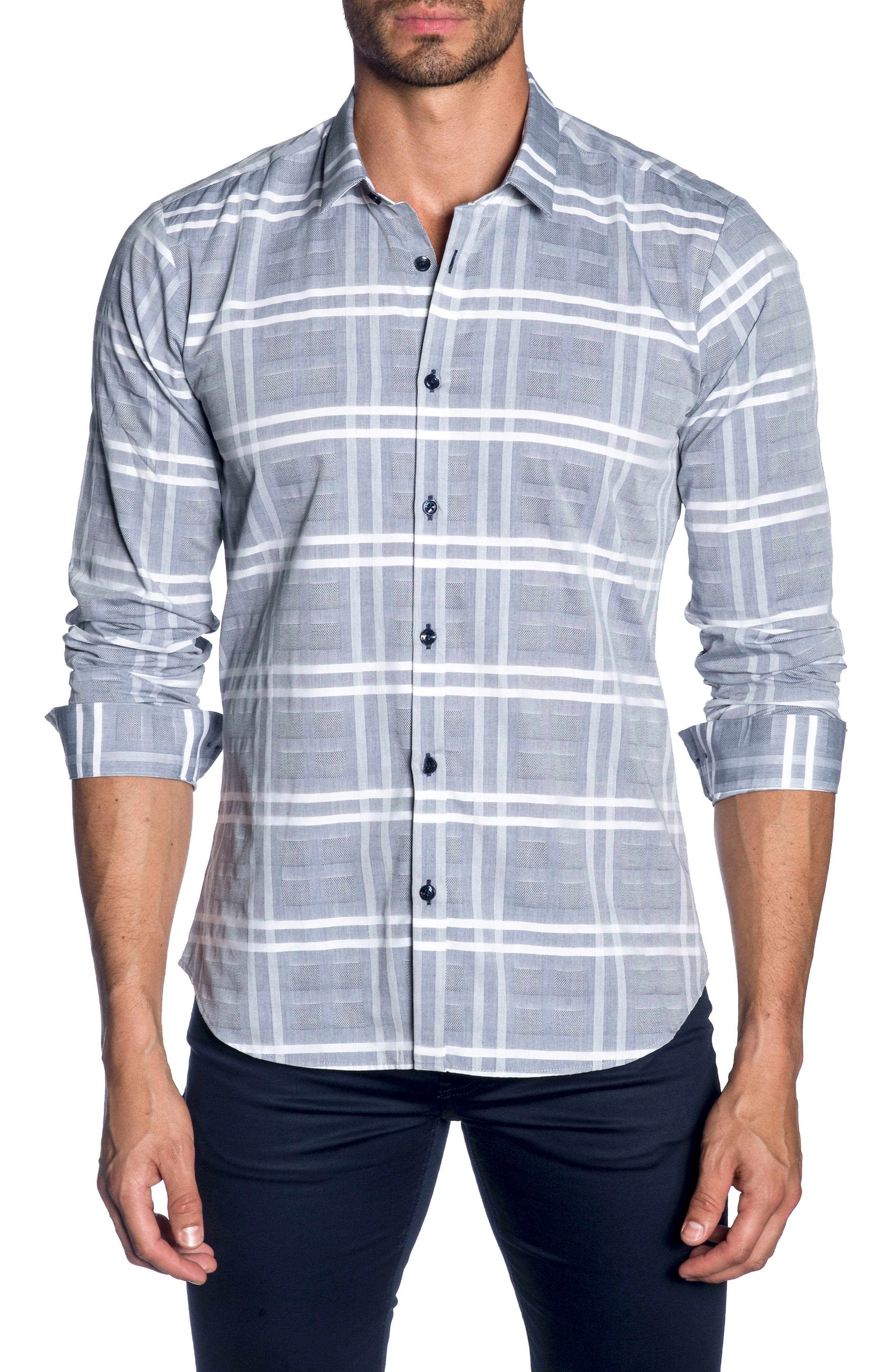 Trim Fit Sport Shirt,                             Main thumbnail 1, color,                             Blue Chambery Check