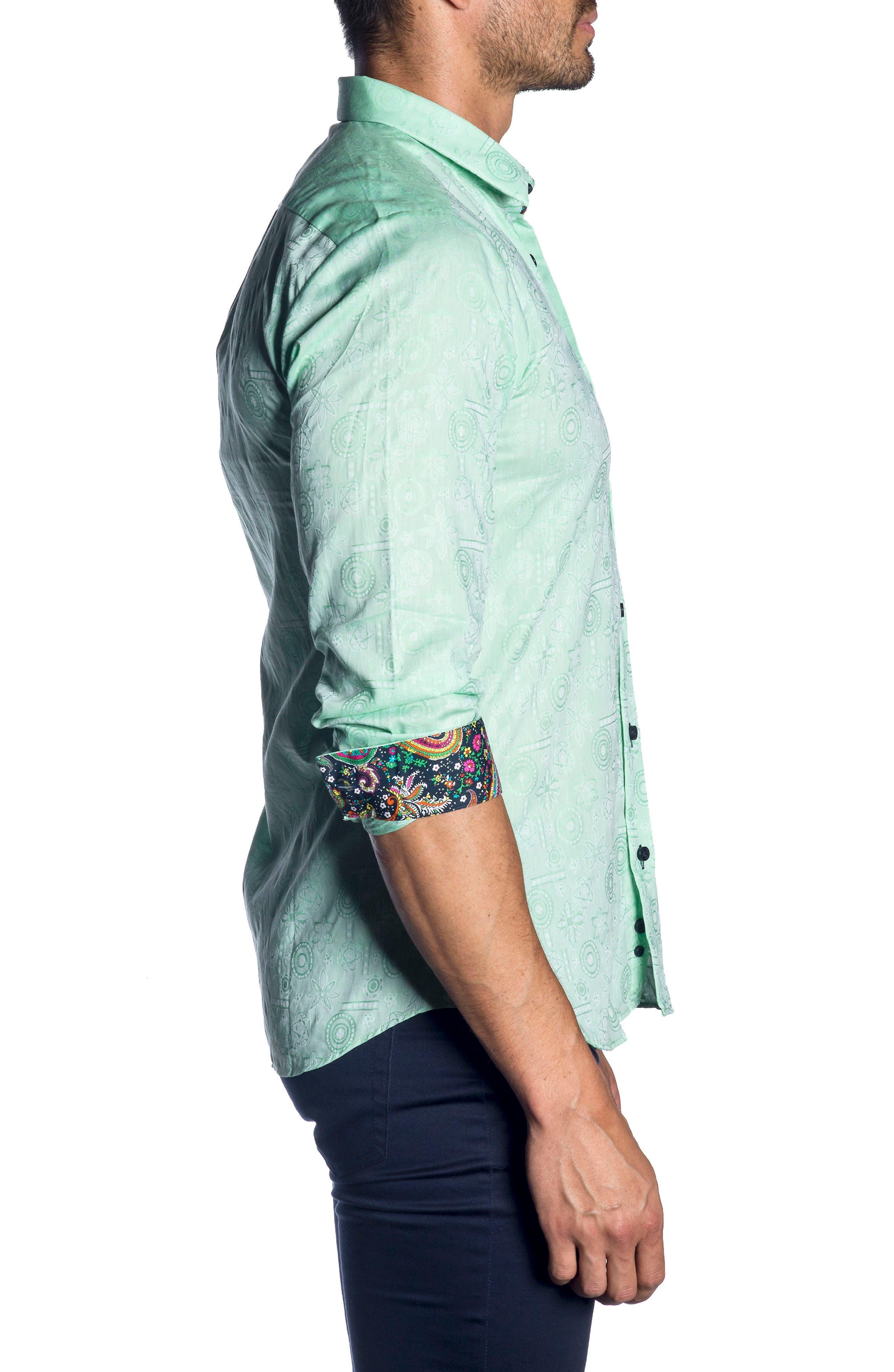 Trim Fit Sport Shirt,                             Alternate thumbnail 3, color,                             Green