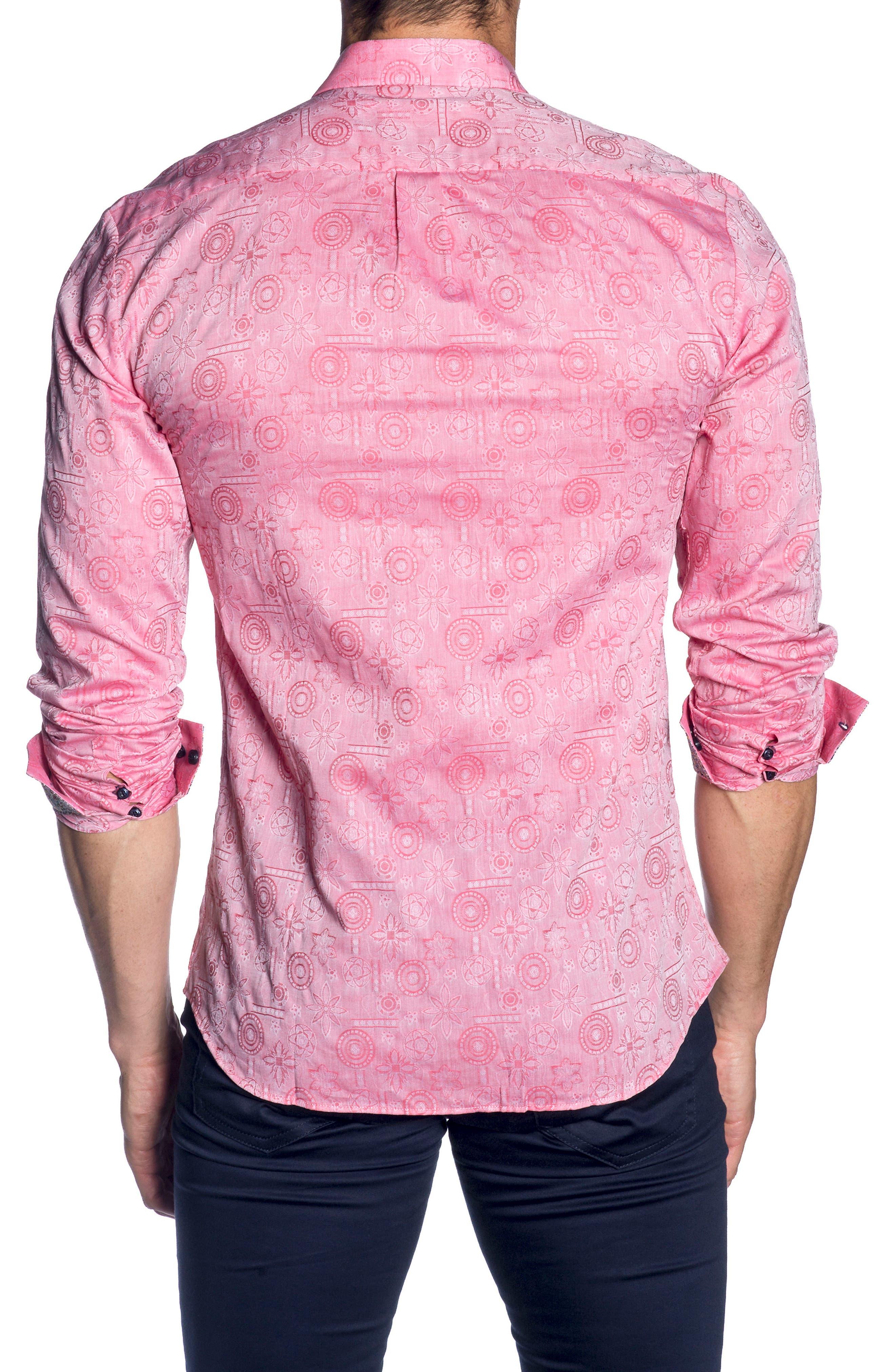 Trim Fit Sport Shirt,                             Alternate thumbnail 2, color,                             Red