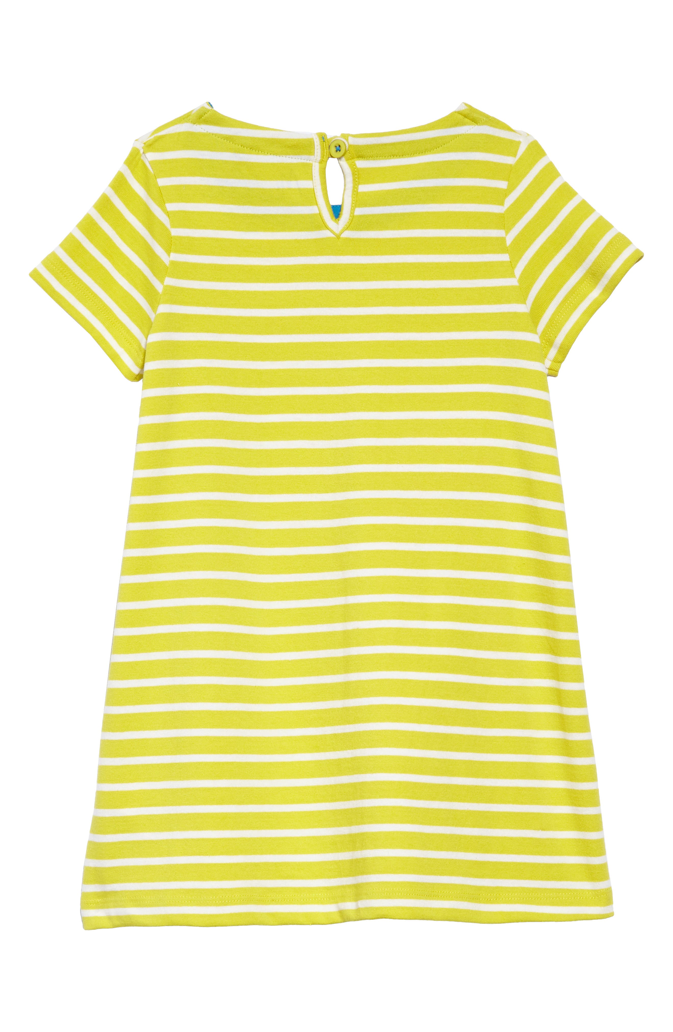 Dog Appliqué Striped Jersey Dress,                             Alternate thumbnail 2, color,                             Yelivory/ Zest Yellow Sprout